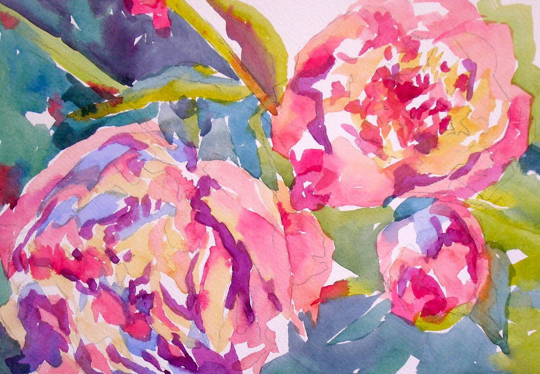 "Jo McKenzie, ""Peonies"", watercolor"