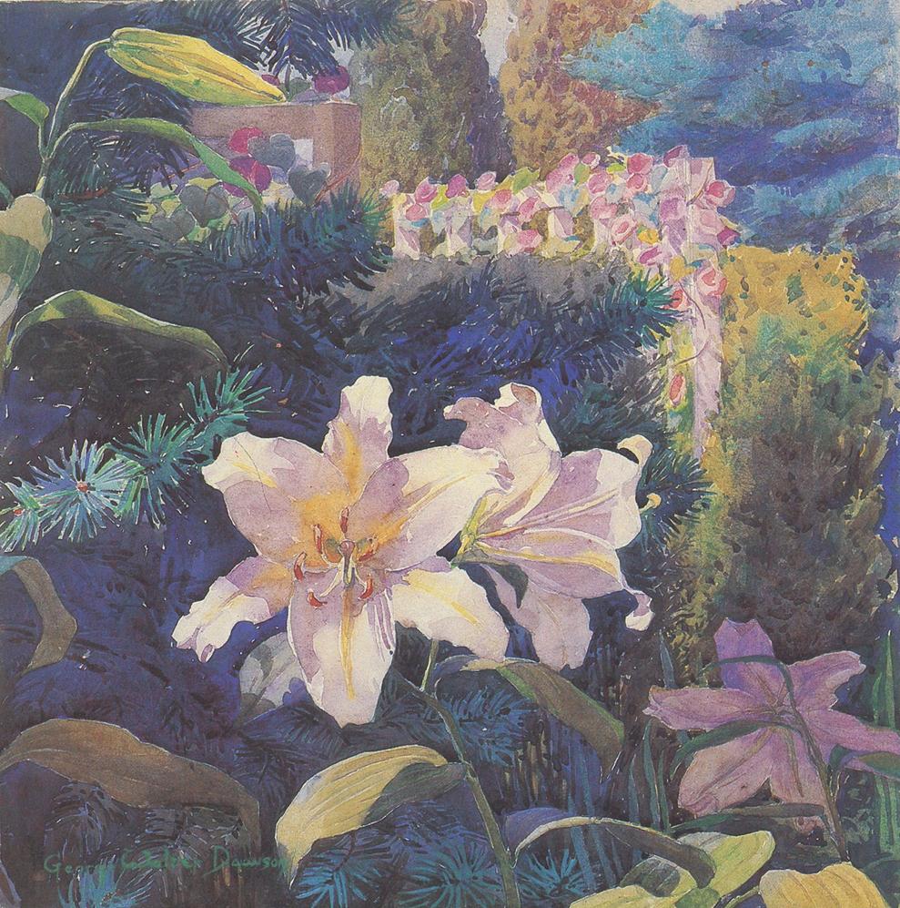 "George Walter Dawson, ""Auratum Lilies"", watercolor"