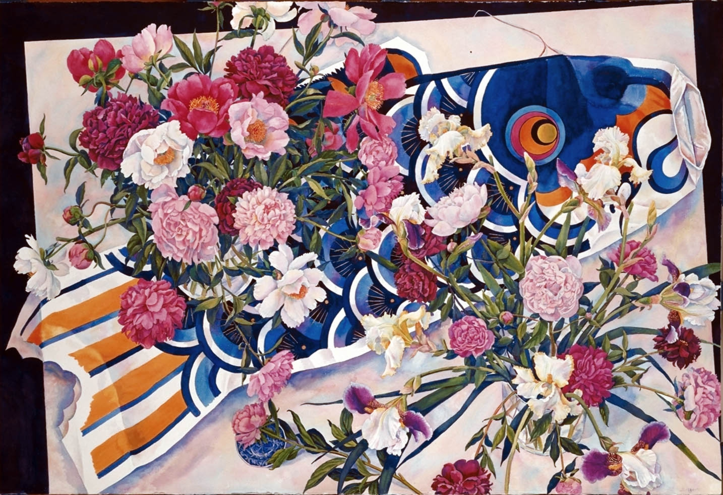 """Susan Abbott, """"Peonies and Paper Fish"""", watercolor"""