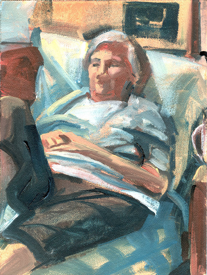 "Susan Abbott, ""My Mother Resting"", oil on panel"