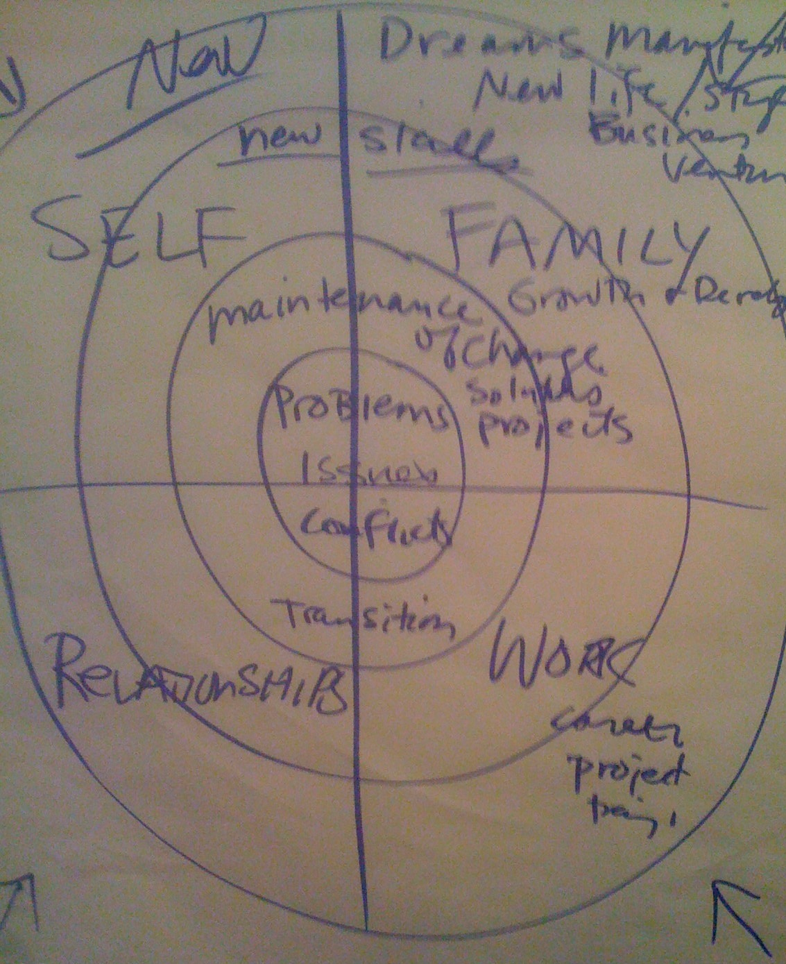 The Four Quadrants that make up Lynne's Psychotherapy & Coaching Practice. People enter through any quadrant.