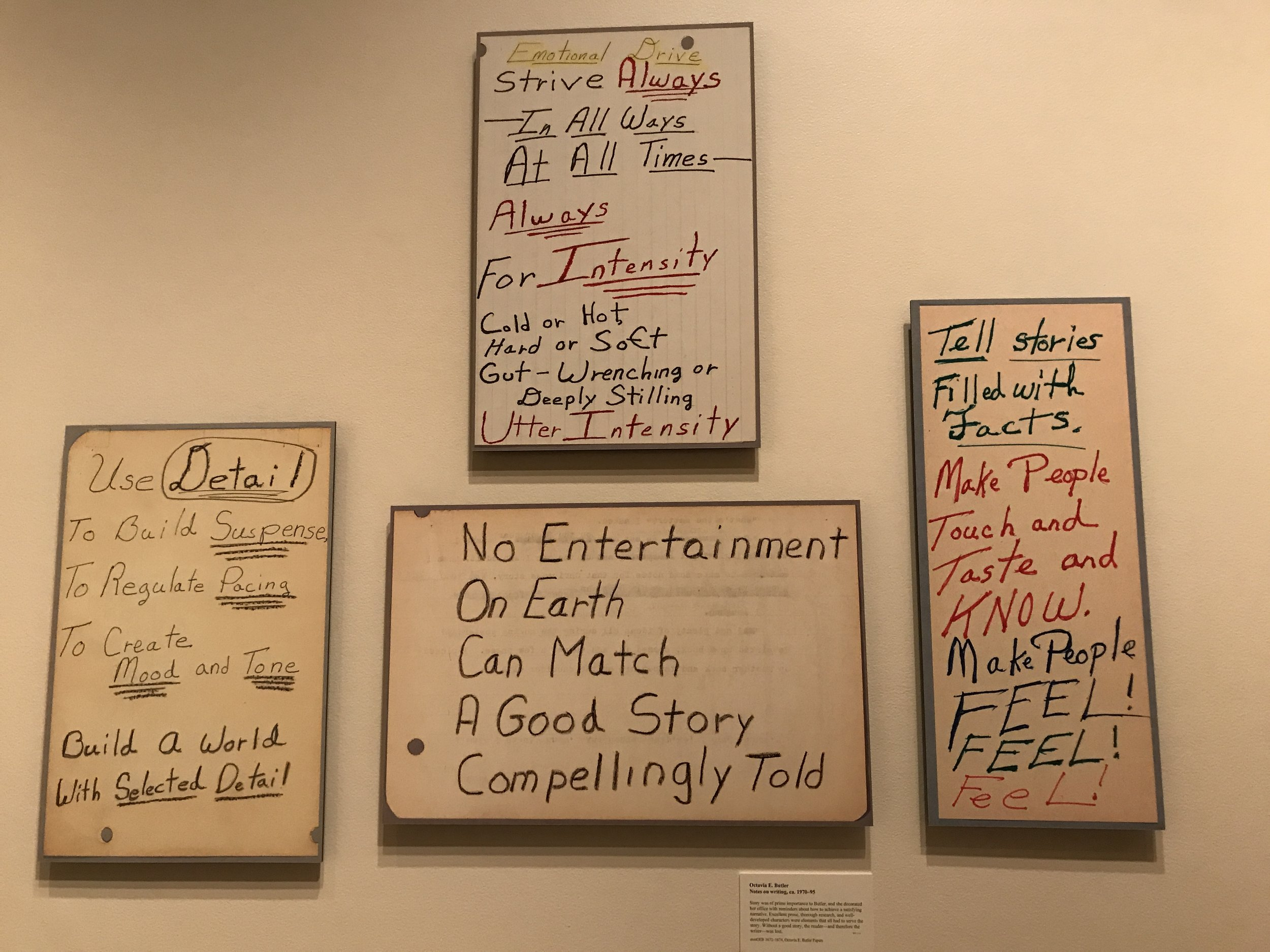 Notes on Writing by Octavia Butler from Huntington Library Exhibit                                   Photo: Lynne Azpeitia