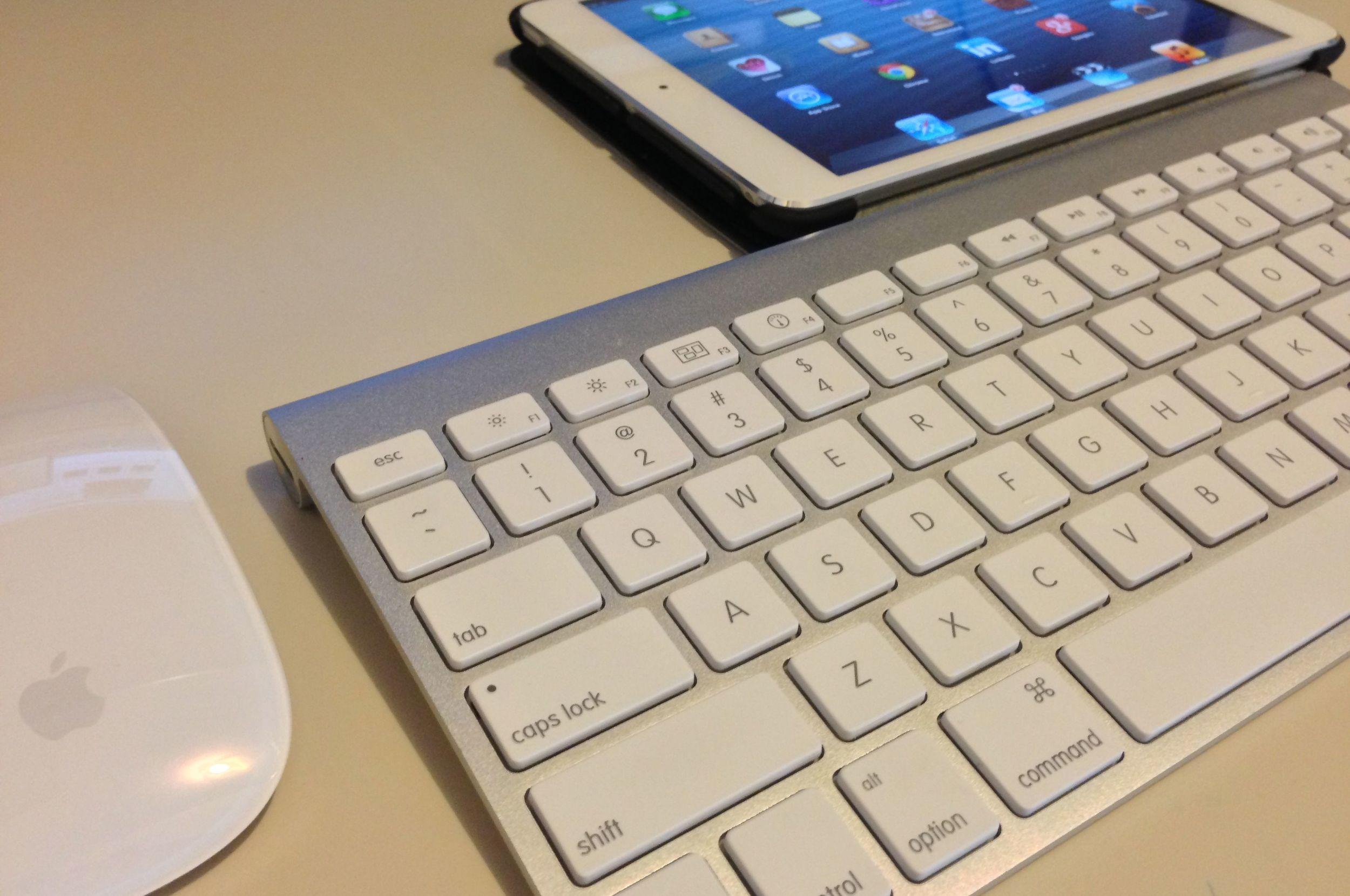 A pple Magic Mouse, wireless keyboard, and iPad mini