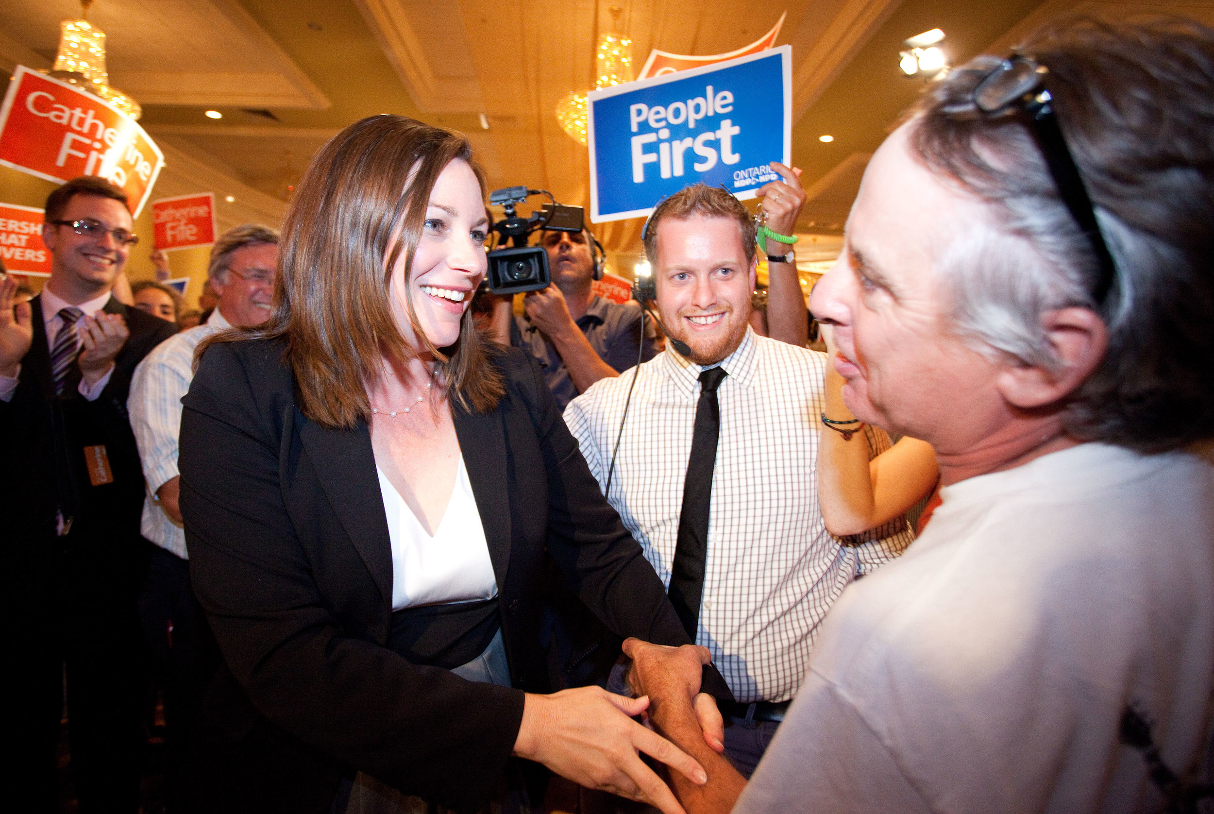 Catherine Fife is congratulated by a supporter after becoming MPP for Kitchener Waterloo, September 7, 2012.