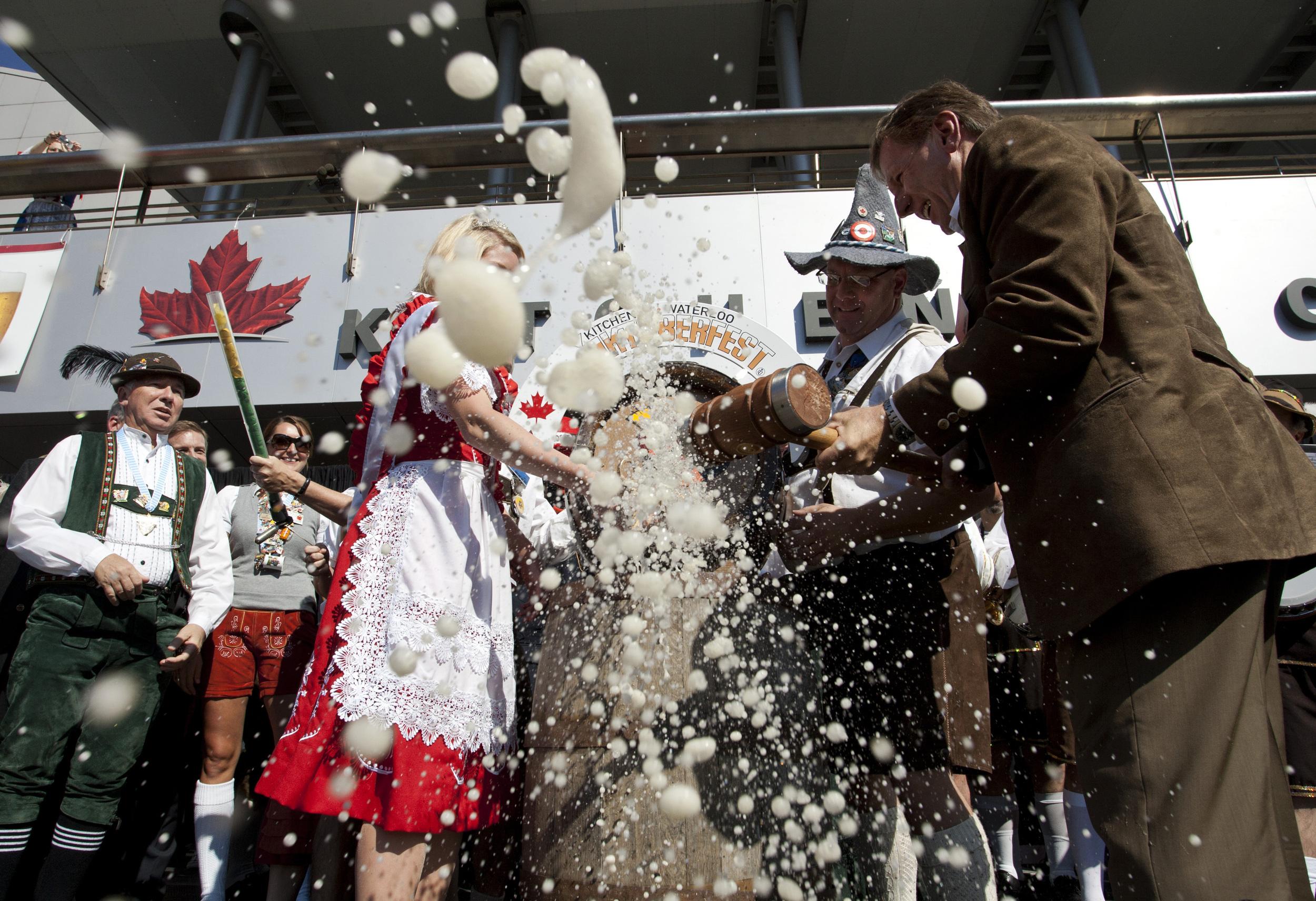 Kitchener mayor Carl Zehr kicks off Oktoberfest October 7, 2011.