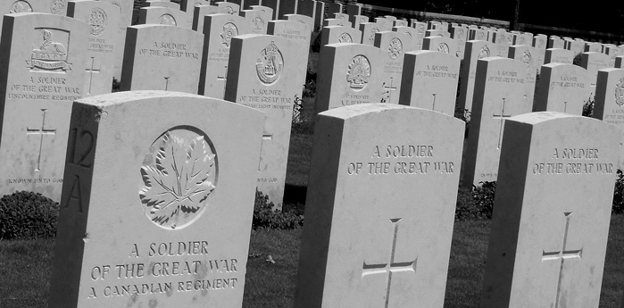 Graves of the unknown at Vimy Ridge.
