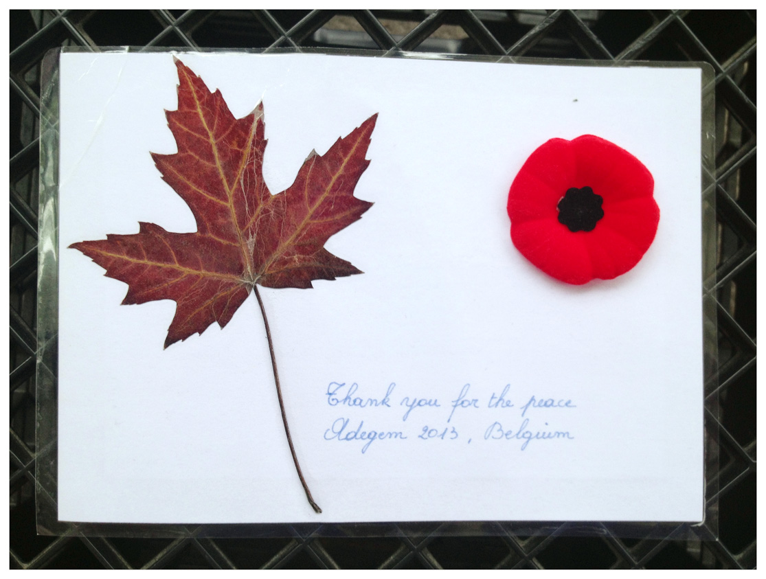"""Gift each Canadianreceived saying, """"Thank you for the peace."""""""