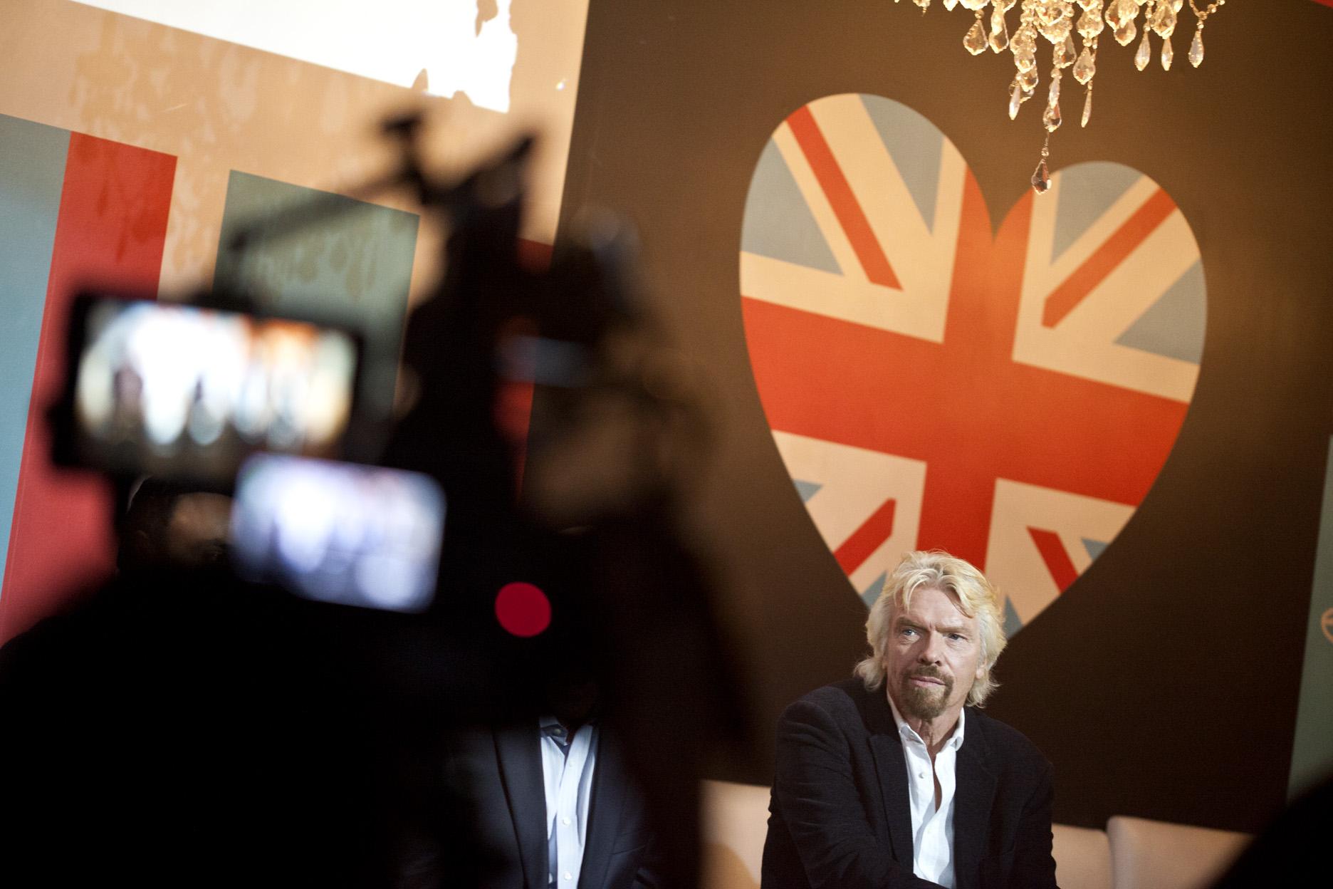 Sir Richard Branson speaks about Virgin Mobile RE*generation, at the Virgin Mod Club in Toronto, September, 2014