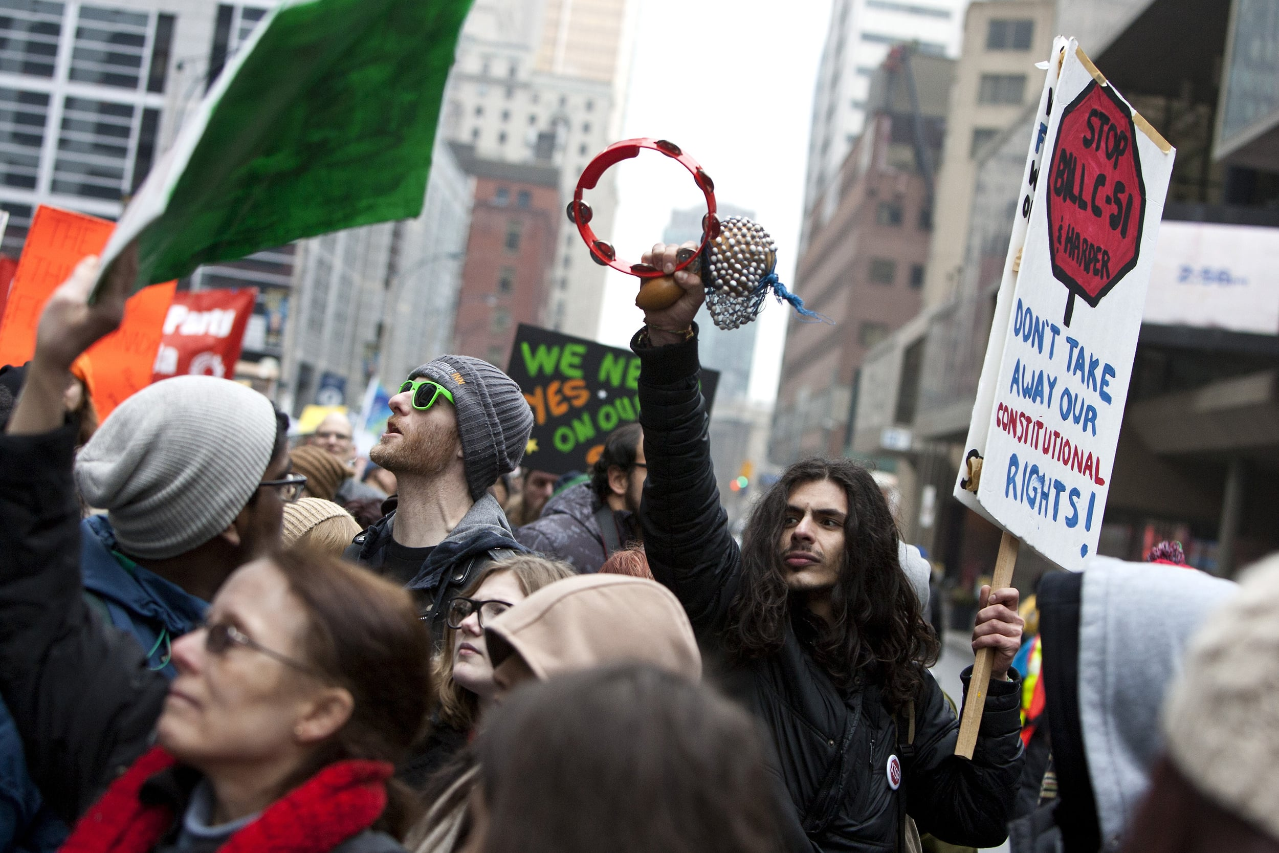 Protestors in Toronto speak out against security bill C-51, March 14th 2015.