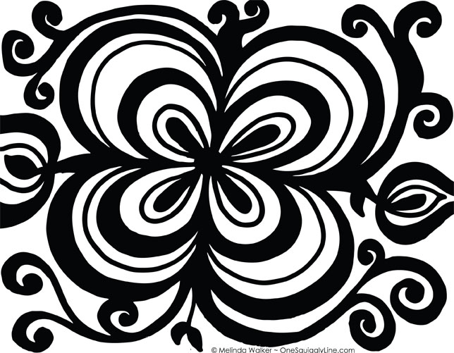 FlowerDoodle_ConcentricTHickThinLines_MelindaWalker_OneSquigglyLine