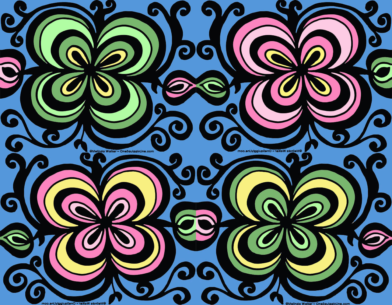 FlowerDoodle_ThickThinLines_ConcentricShapes_VisualThinking_Design_MelindaWalker_OneSquigglyLine