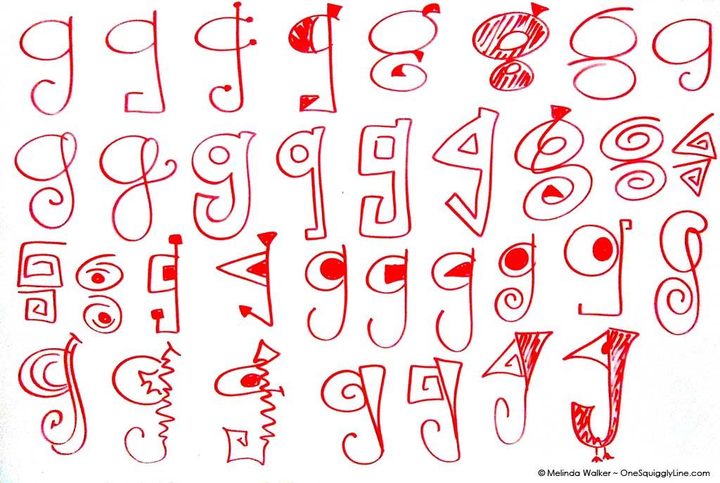 Lowercase g letter brainstorm Melinda Walker One Squiggly Line