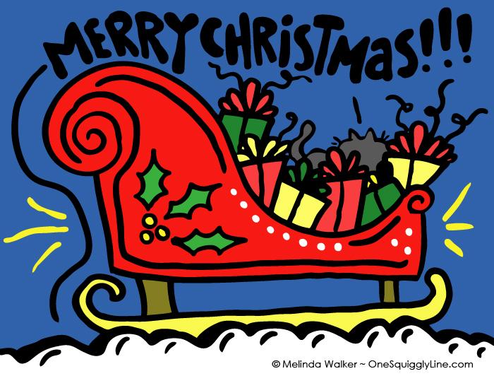 VisualThinking_Creative_Letter_Design_Christmas_Sled_Surprise_MelindaWalker_OneSquigglyLine