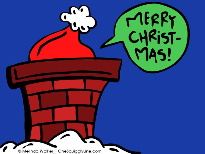 VisualThinking_Creative_DrawWhatYouCan_Christmas_SantaHat_Chimney_MelindaWalker_OneSquigglyLine