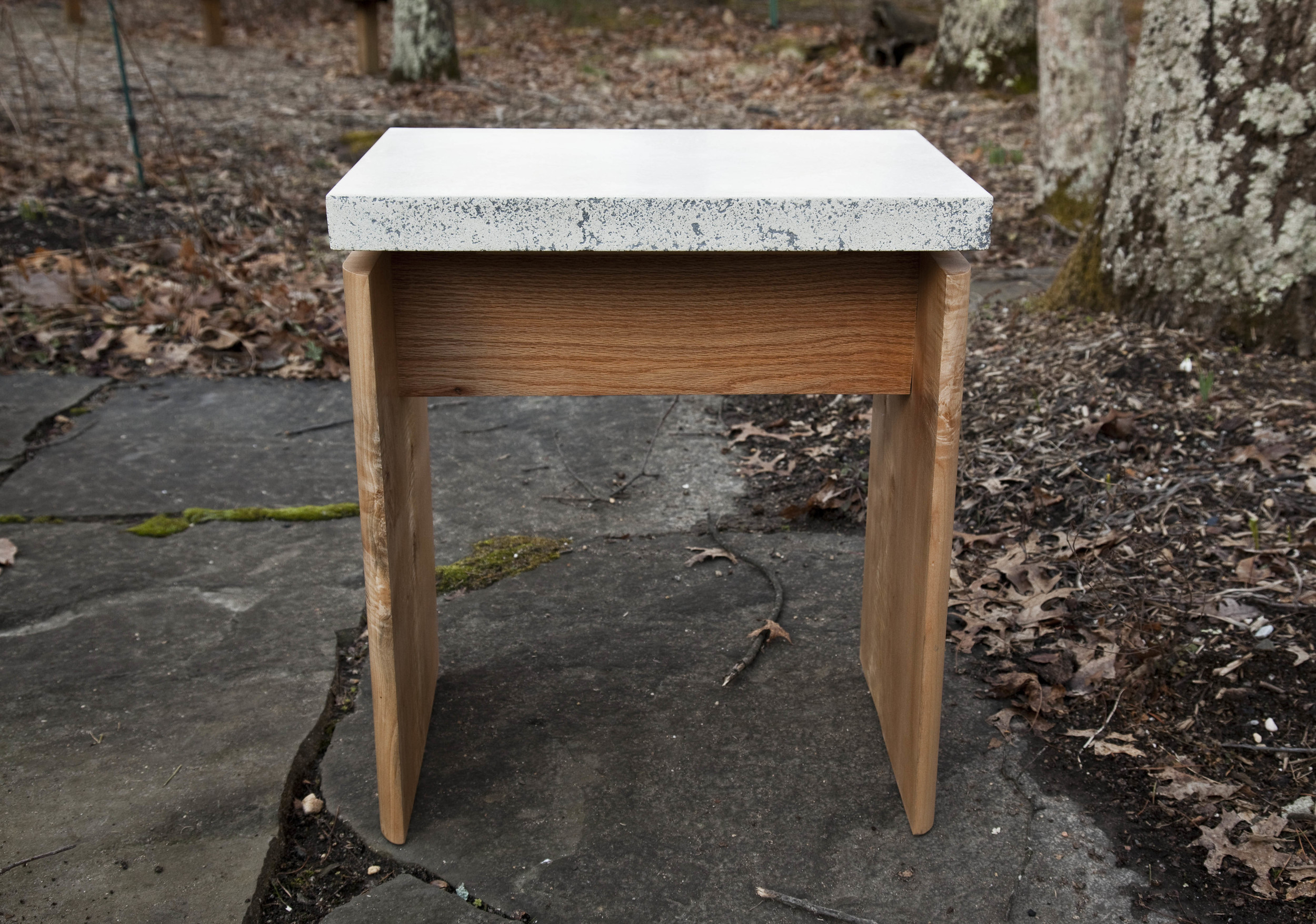 Cement & maple bedside table by valebruck.com