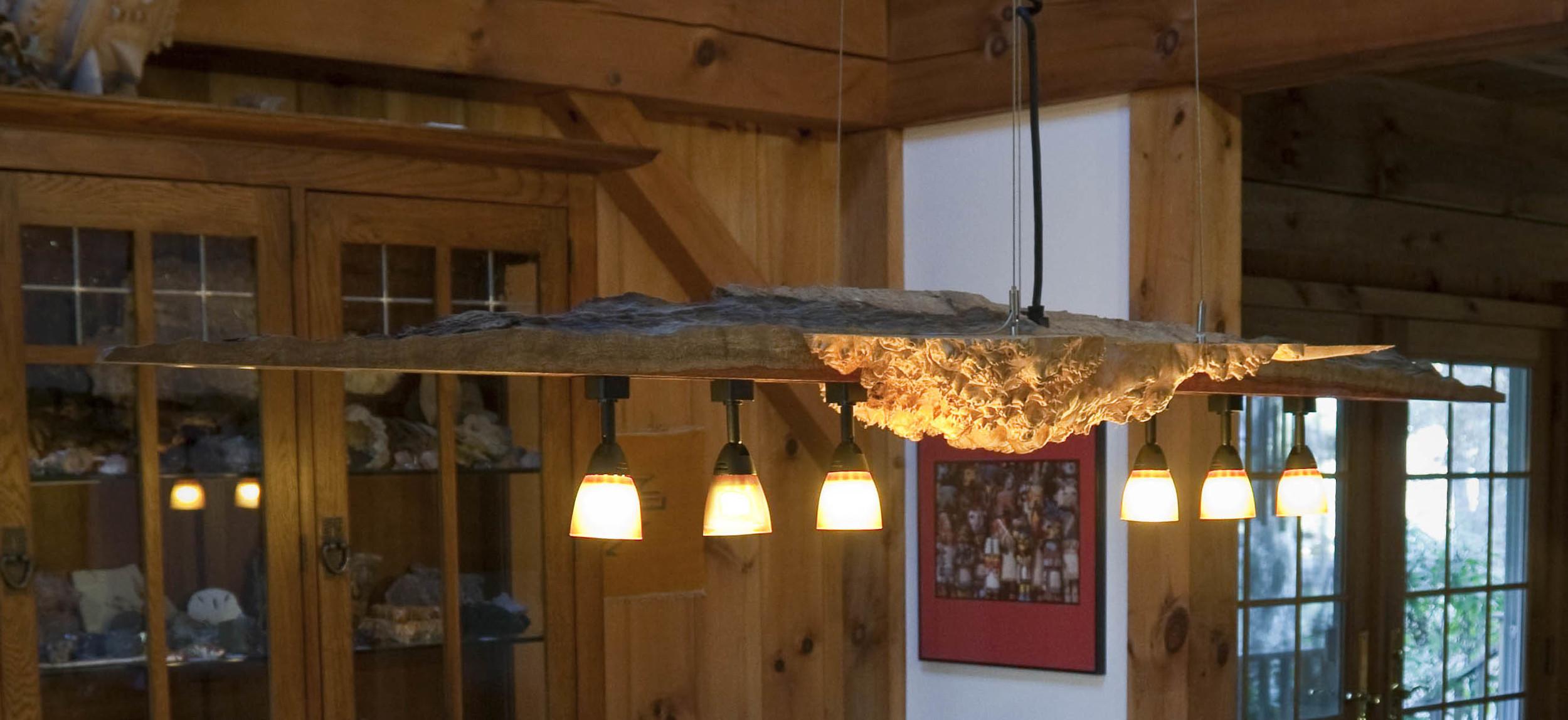 Custom maple burl chandelier by valebruck.com