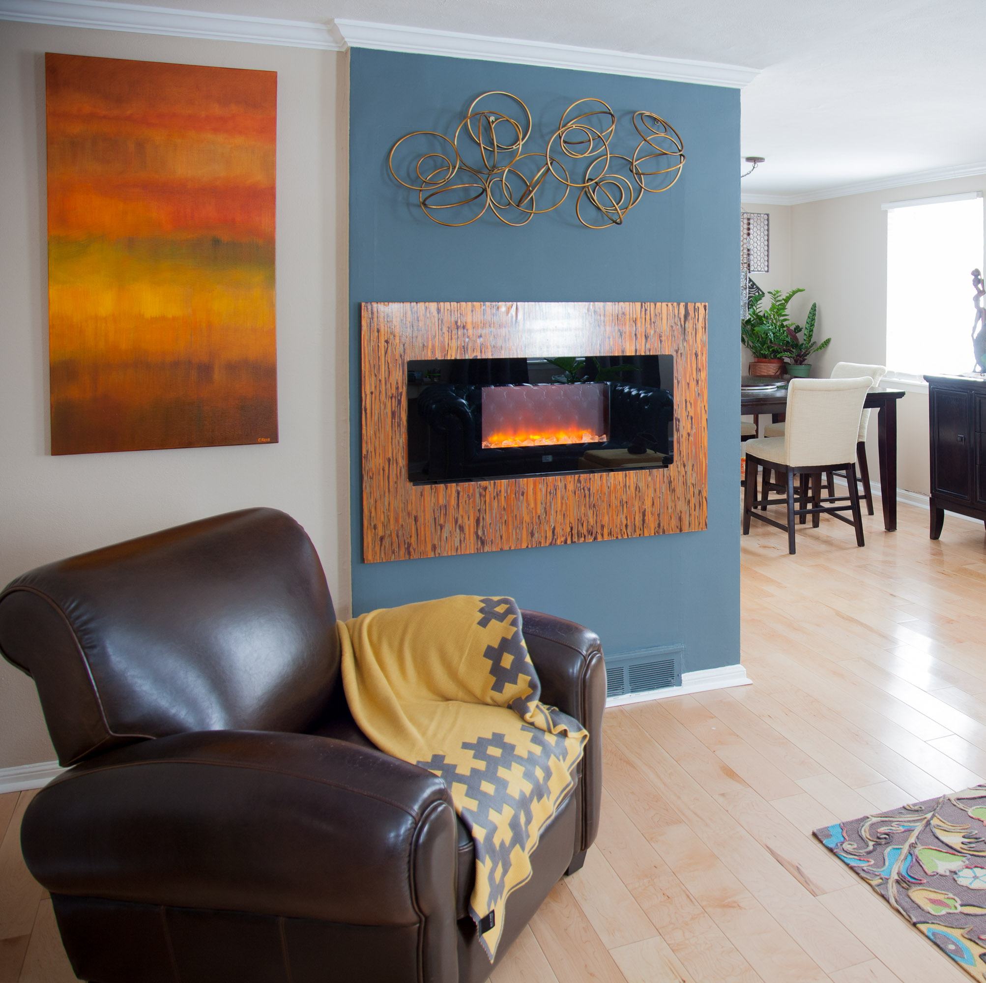 LED fireplace & copper surround by valebruck.com