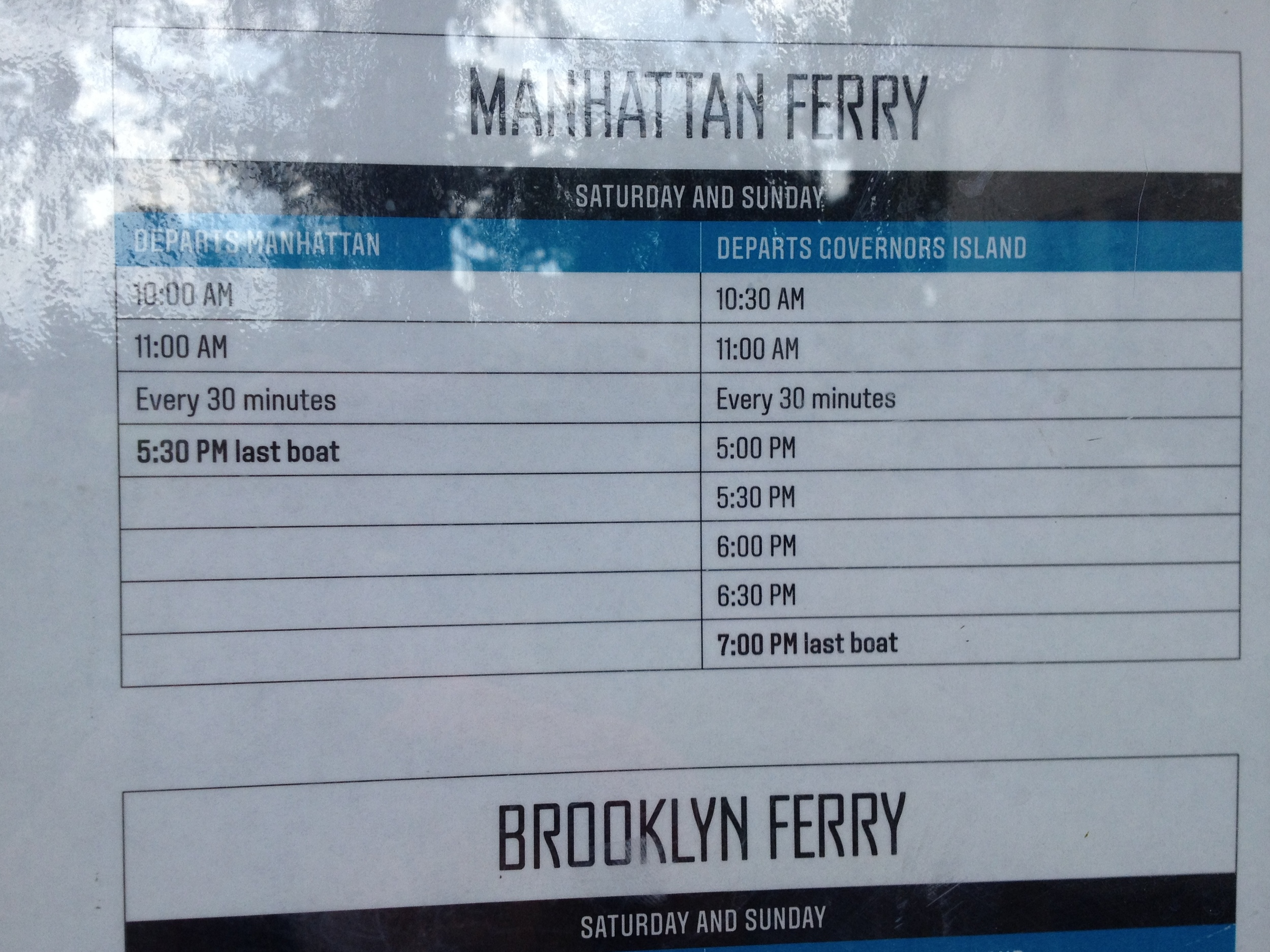 Free ferry schedule between Southend of Manhattan and Governors Island, New York.
