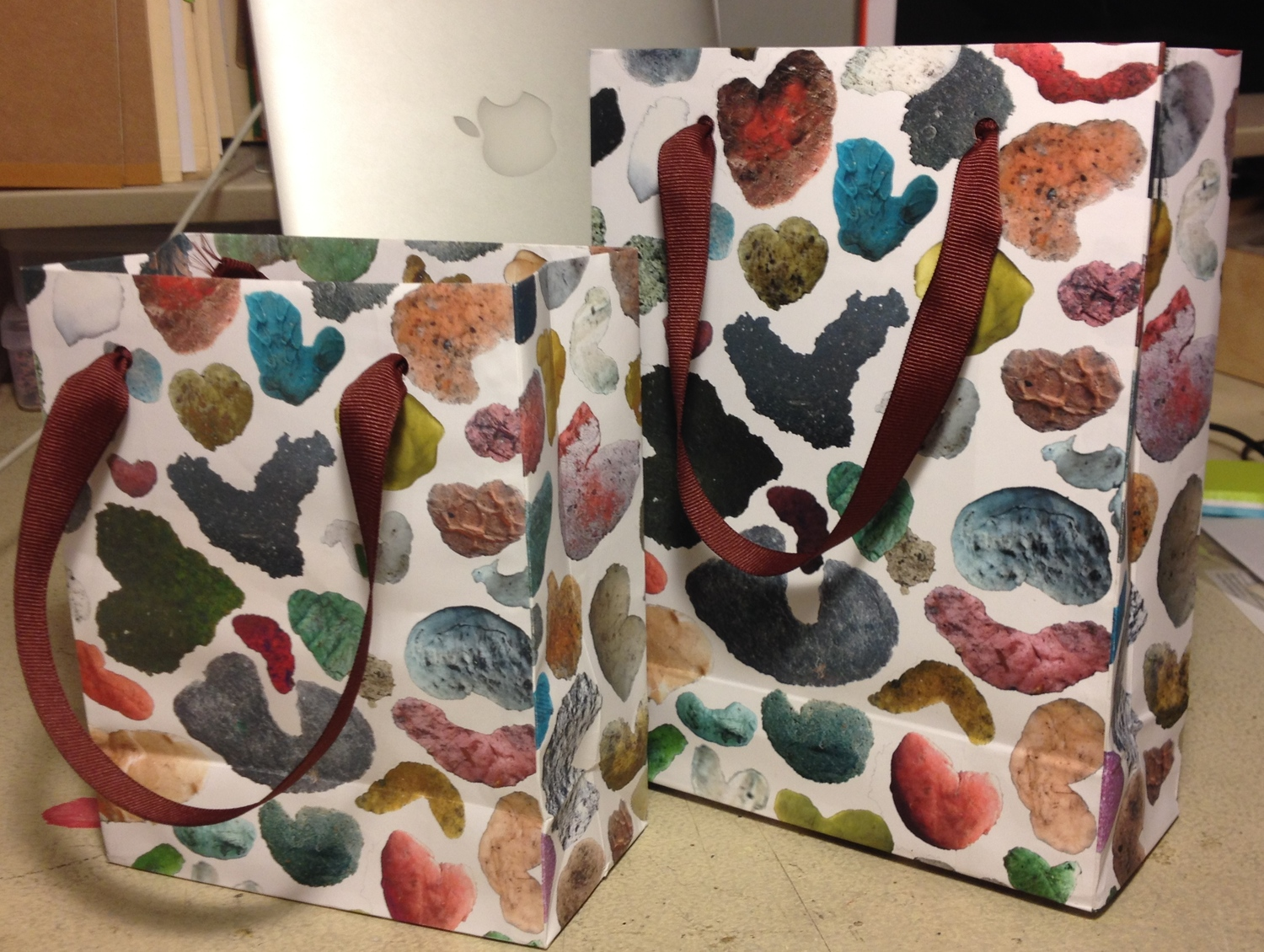 Hand folded GumHearts Paper Bags