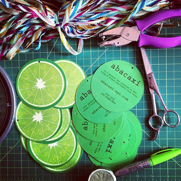 cutting out circular hangtags