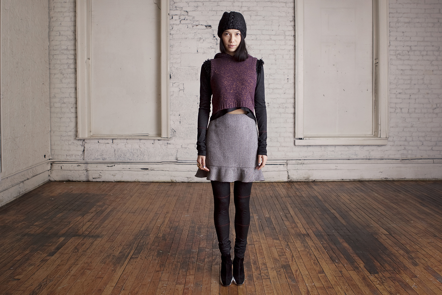 Fauxhawk Cable Cap, Aubergine Hooded Sweater, Beaded Wrap Top