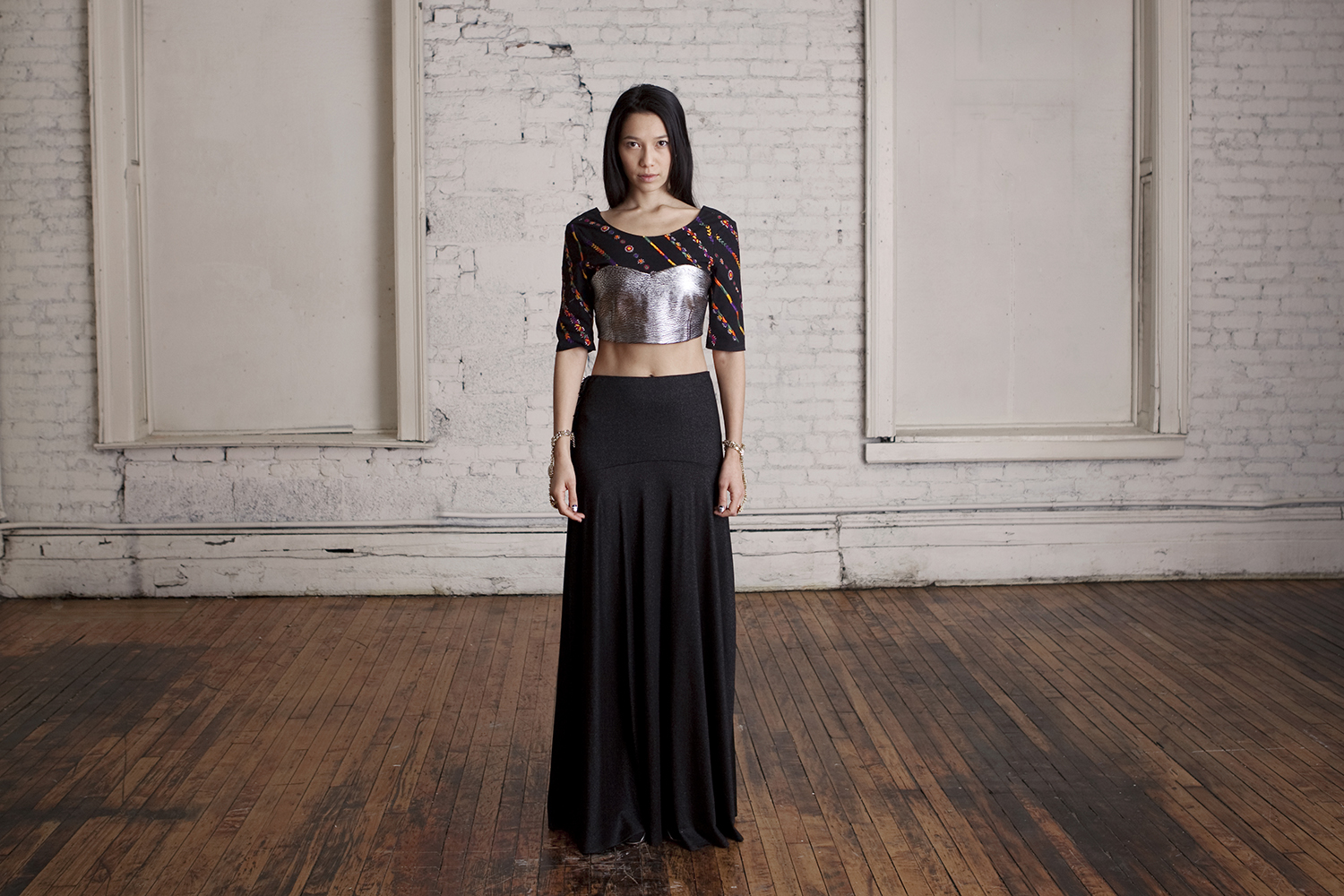 Leather and Embroidery Yoke Blouse, Beaded Slit Maxi Skirt