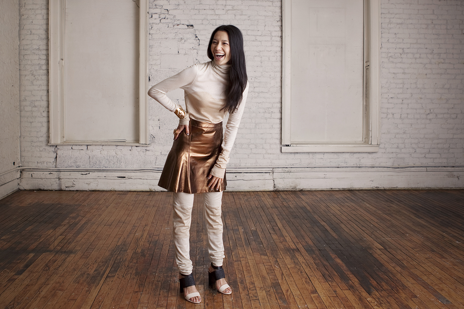 Leather Flare Skirt, Gold Churidar Turtleneck and Leggings