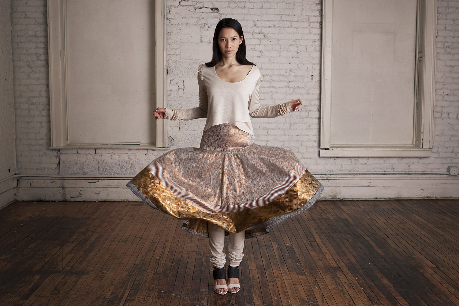 Beaded Wrap Top, Golden Circle Skirt, Churidar Leggings