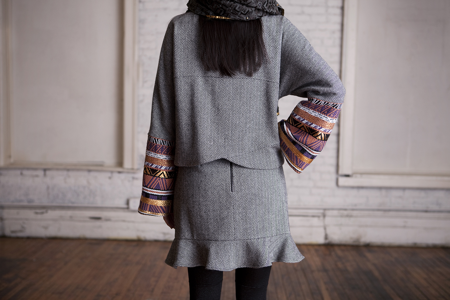 Herringbone Tweed Skirt and Jacket