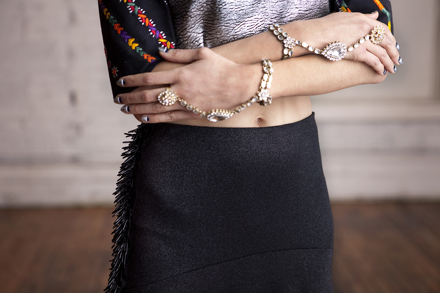 Beaded Slit Maxi Skirt,  Panja Bracelets