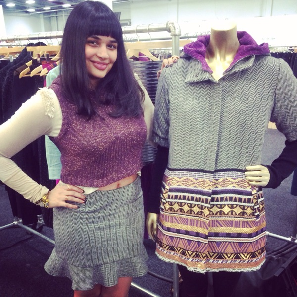 Gold Beaded Wrap Top, Herringbone Tweed Mini Pencil Skirt, and Aubergine Hoodie Vest, next to the Himalaya Gold Crop Top