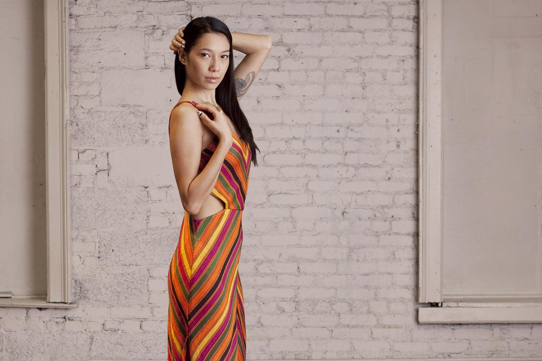 Handloom Silk Chevron Dress