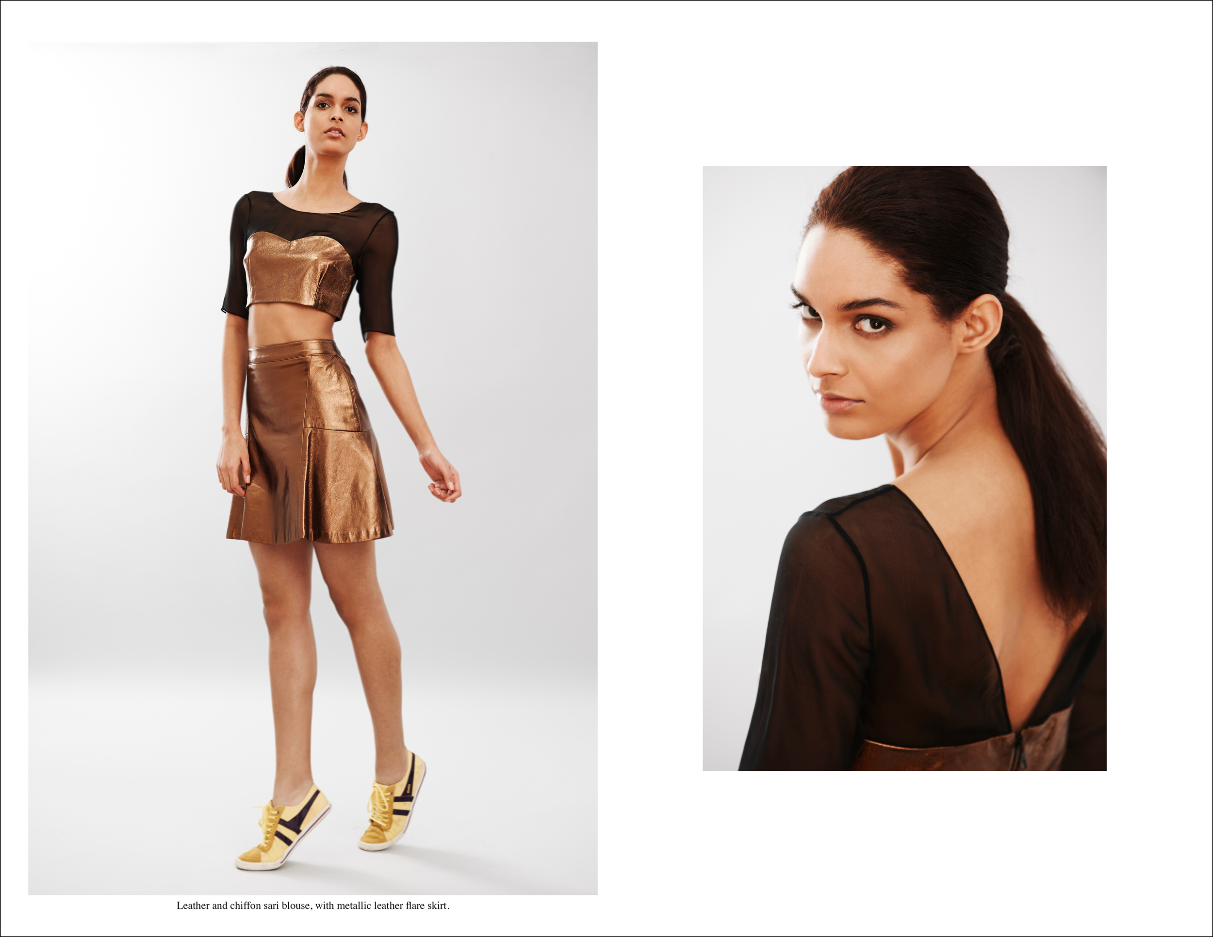 abacaxi Leather and chiffon sari blouse, with metallic leather flare skirt..jpg