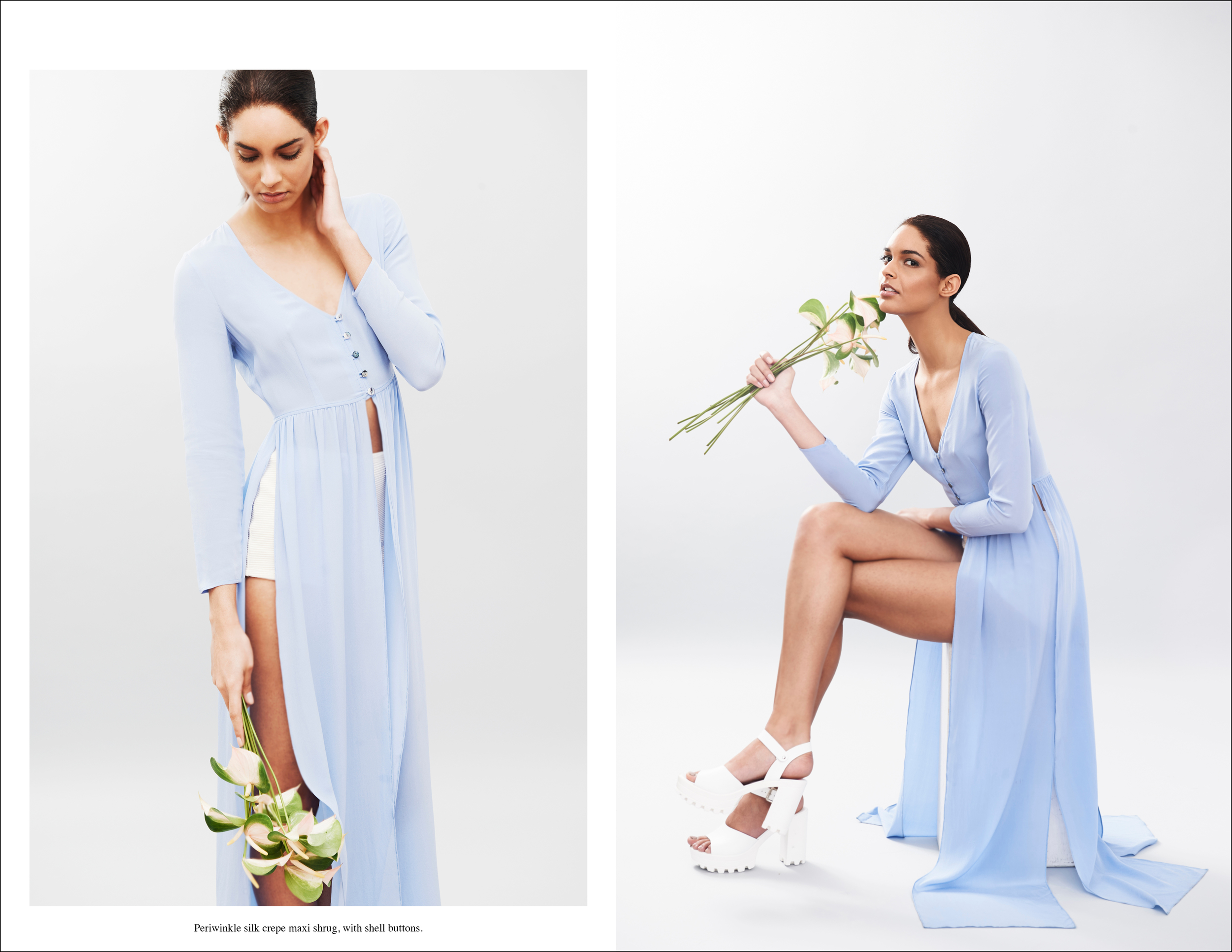 Abacxi Campaign Periwinkle silk crepe maxi shrug, with shell buttons.jpg