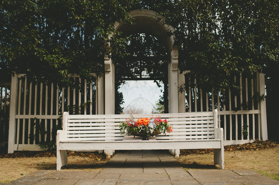 White Washed Pew at a Shibori Styled Shoot