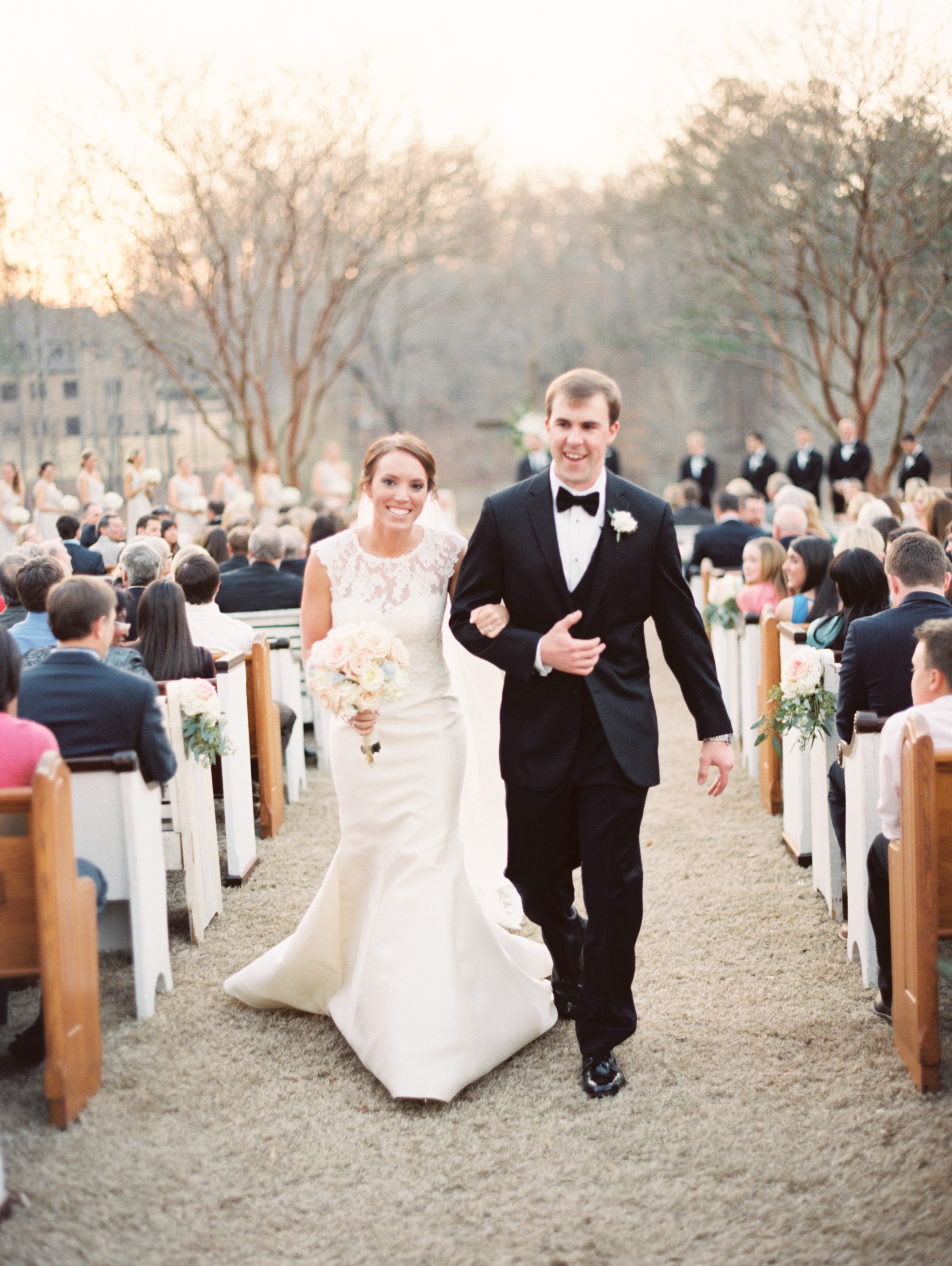 Pews at a Southern Wedding. Photos by Taylor Lord Phtography
