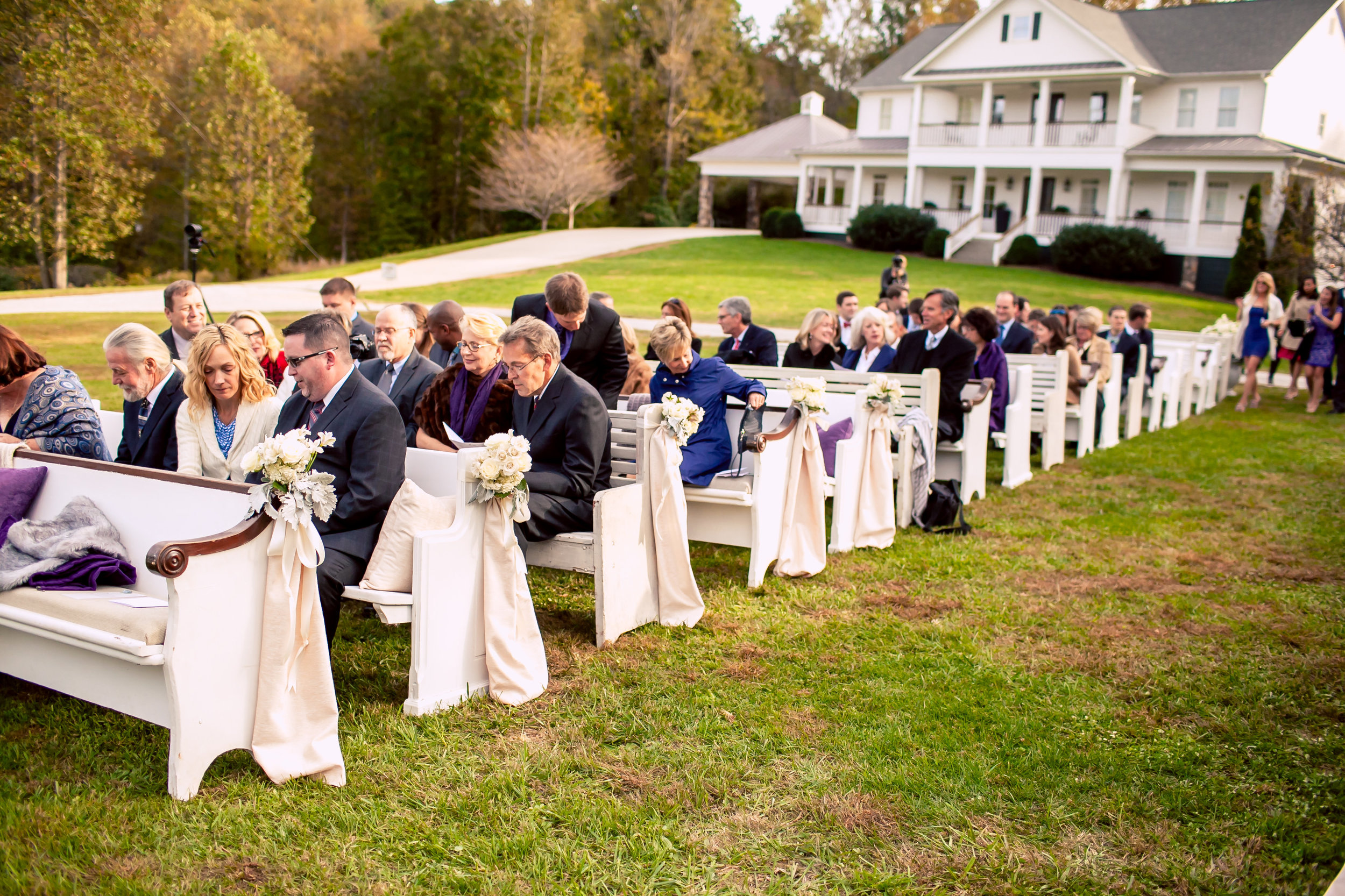 Georgia outdoor wedding with church pews. P.E.W.S. www.rentpews.com. Photographed by www.oncelikeaspark.com.