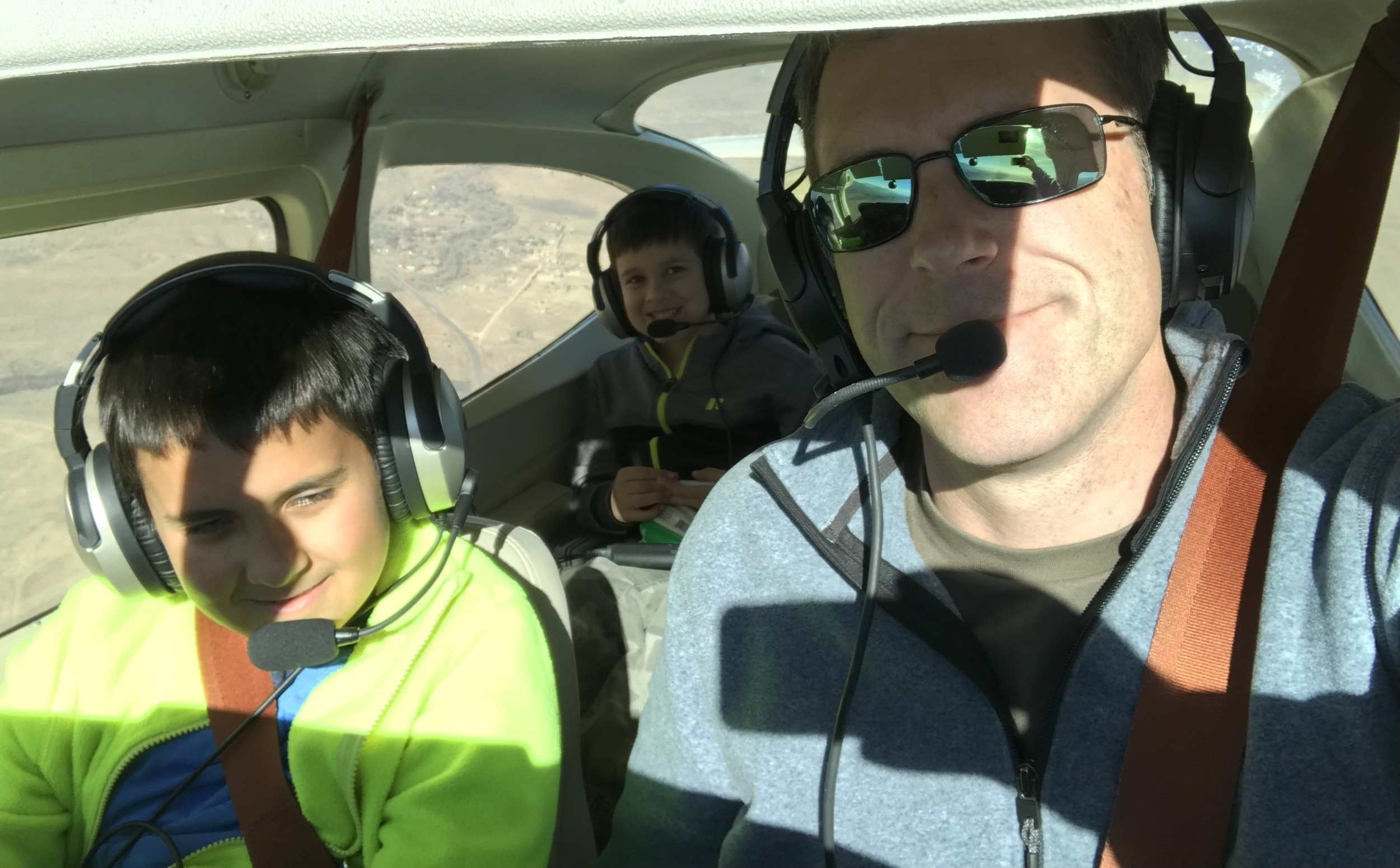 A perfect morning flying in a Cessna with my sons Nik and Jayan!