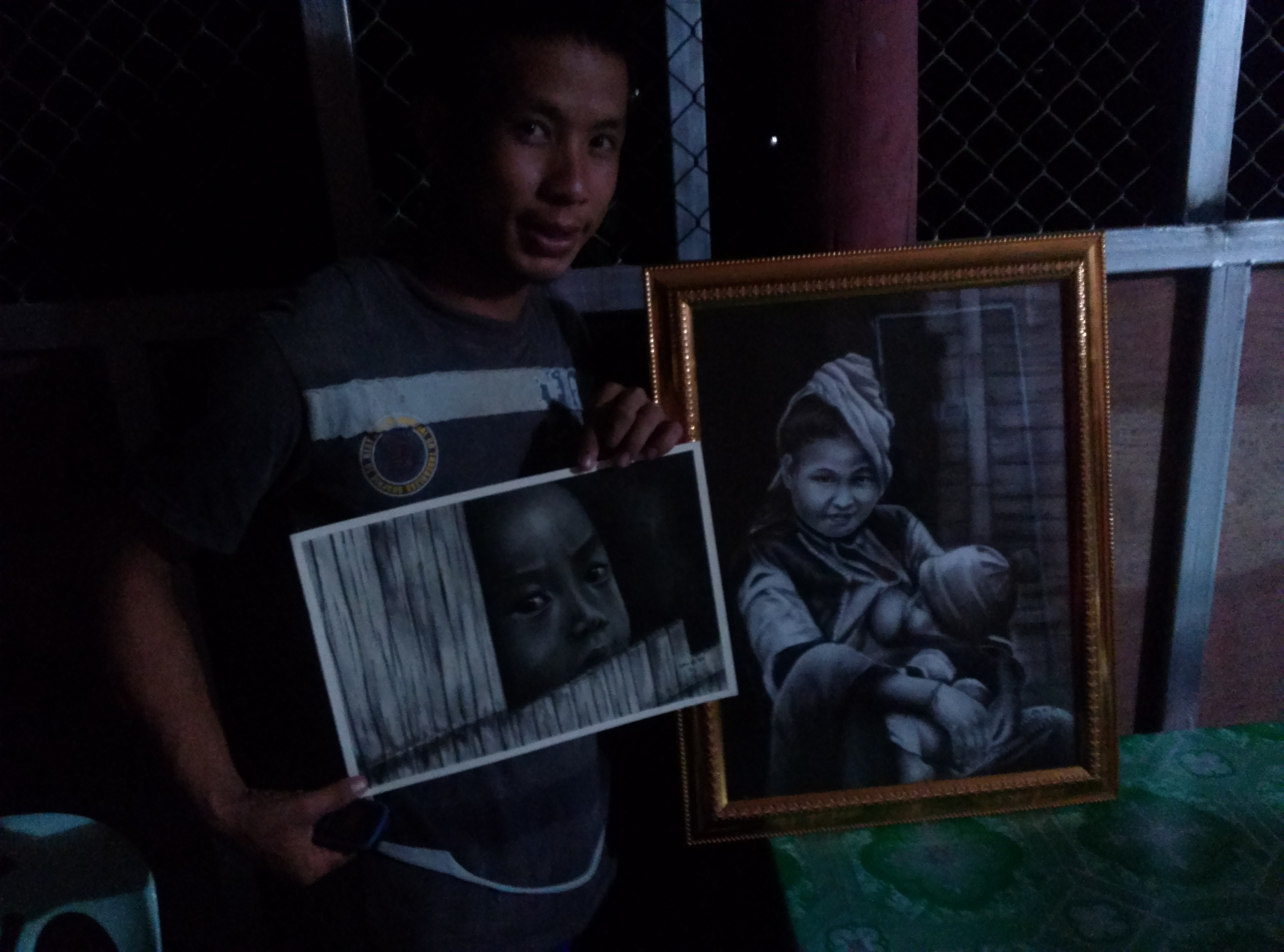 Sew Sew is 22 years old. He likes soccer. He also likes to draw. Here are his two paintings. He has received no professional training. He wants to attend an arts school, develop his skills, and hopefully use the money he sells from his paintings to help his people.