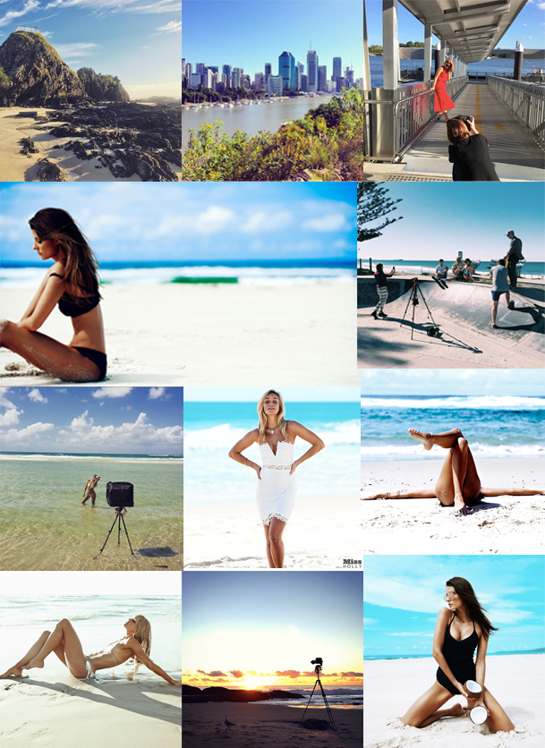 Above left to right: Currumbin Beach, Brisbane City, Elizabeth Grinter shooting in Brisbane, Mark Sullivan-Bradley - (model on beach, shooting for City Beach at skate park, on location, Miss Holly shoot, editorial image legs on beach), Image by Macushla Burke, Mark Sullivan-Bradley BTS and final image.