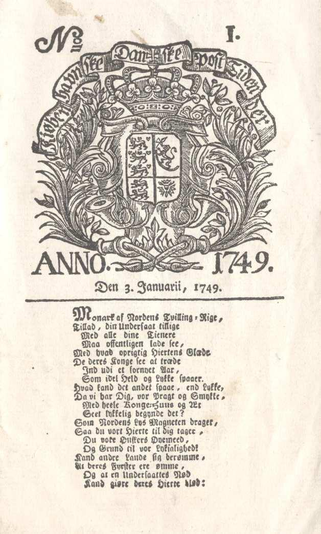 Front page of The Copenhagen Times (Berlingske) in 1749