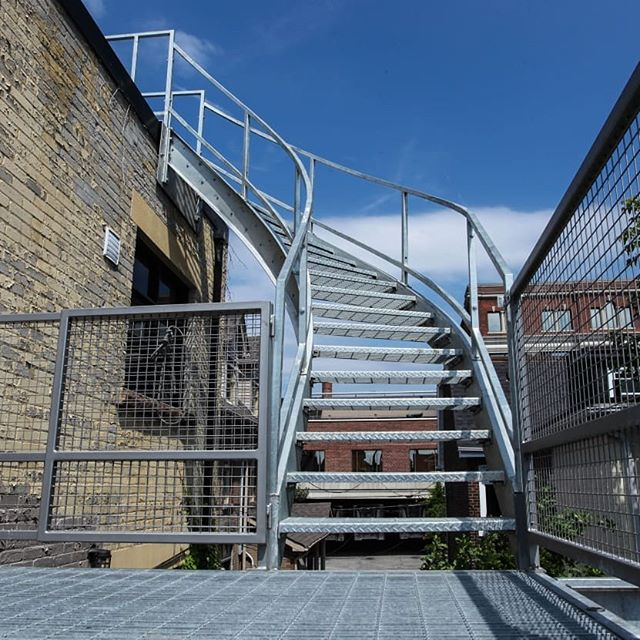Galvanized curved stair & deck #curvedstaircase #galvanized #customfabrication