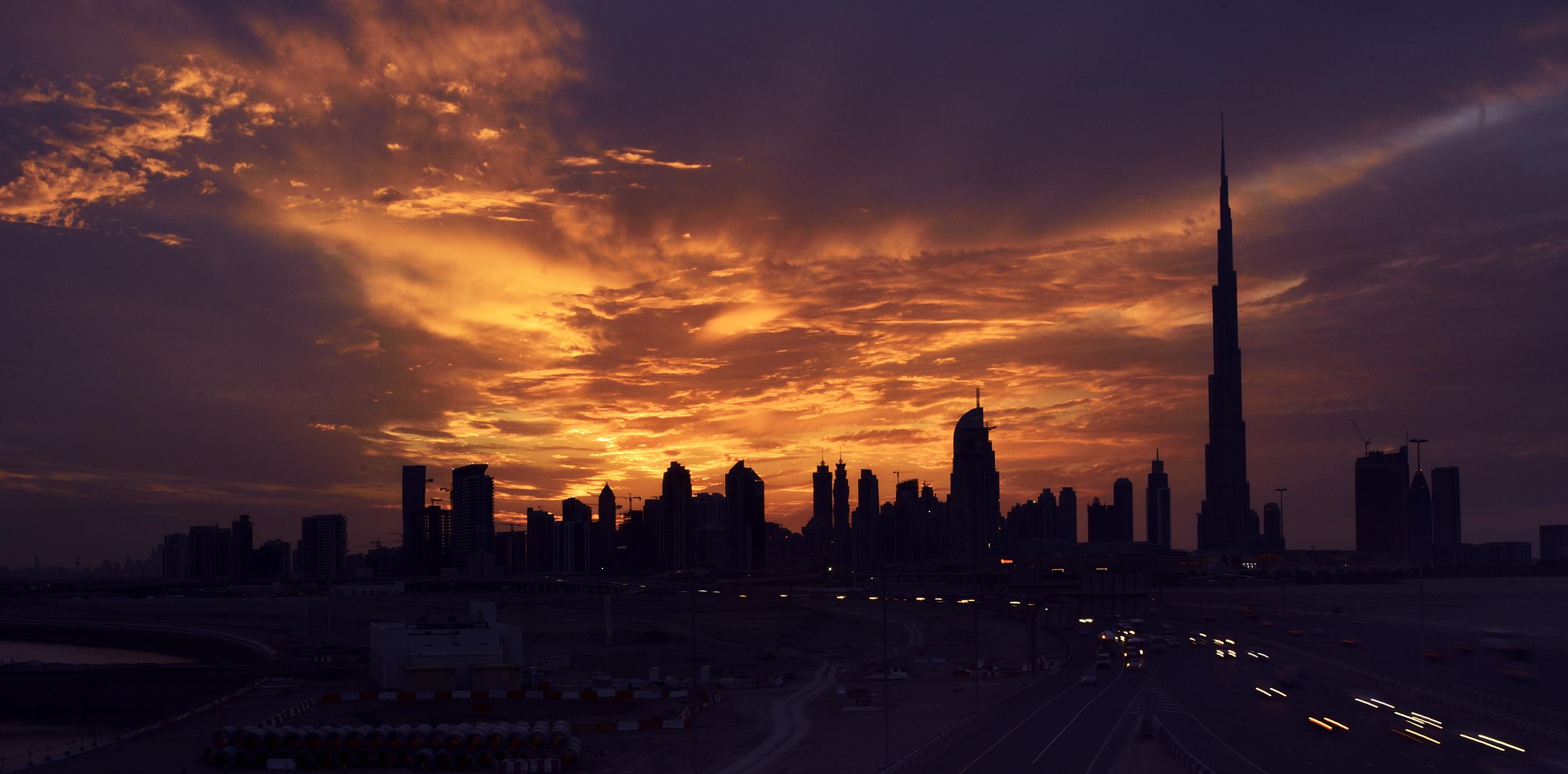 Dubai Skyline during Sunset.