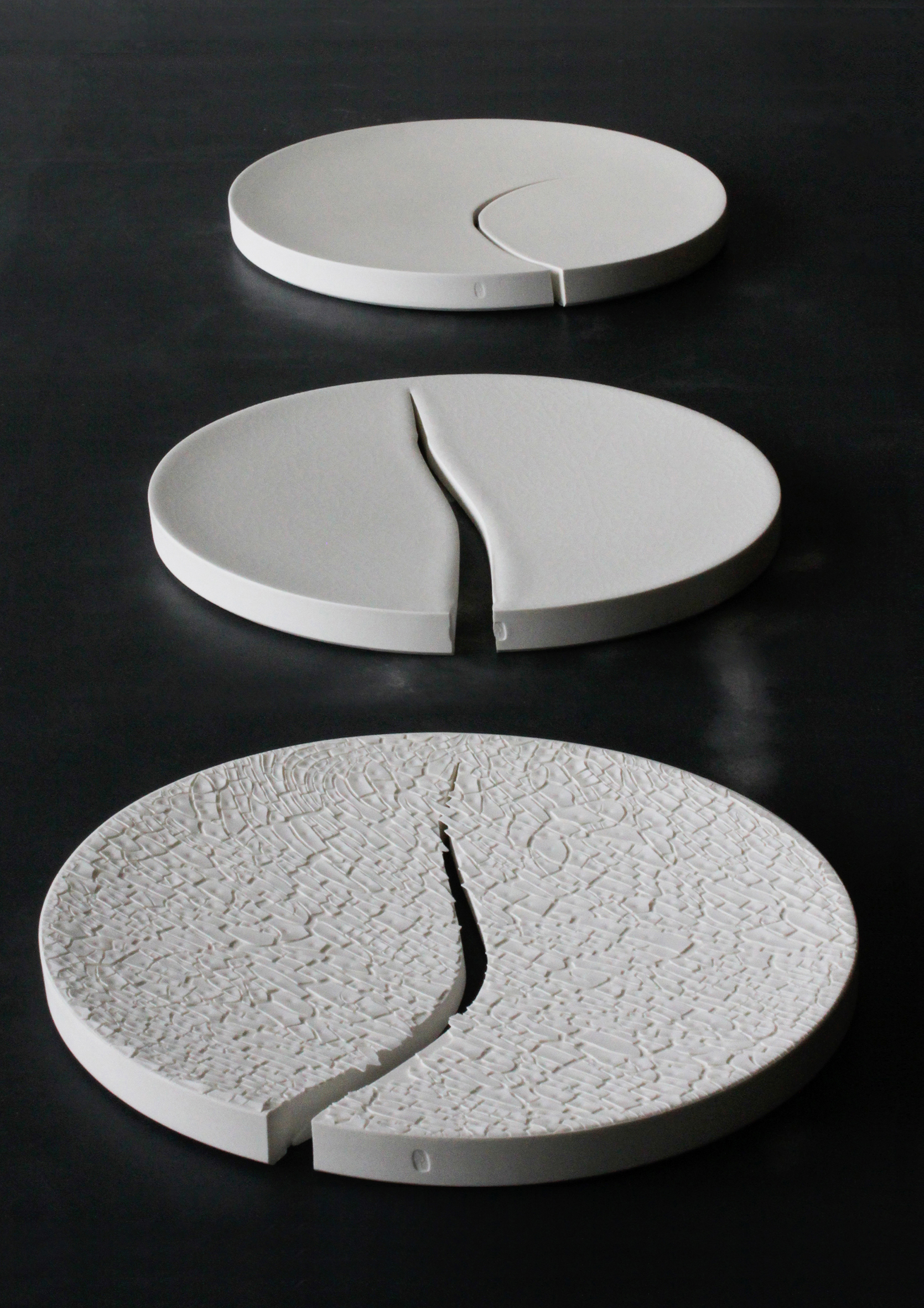 Still / 2011  Material / Solid-cast porcelain   Art work inspired by the music of Latvian composer Péteris Vasks and the earthquake that occurred in Japan, 11.3.2011.   Exhibited at LB contemporary gallery in 2011 and Caisa in 2012, Helsinki.