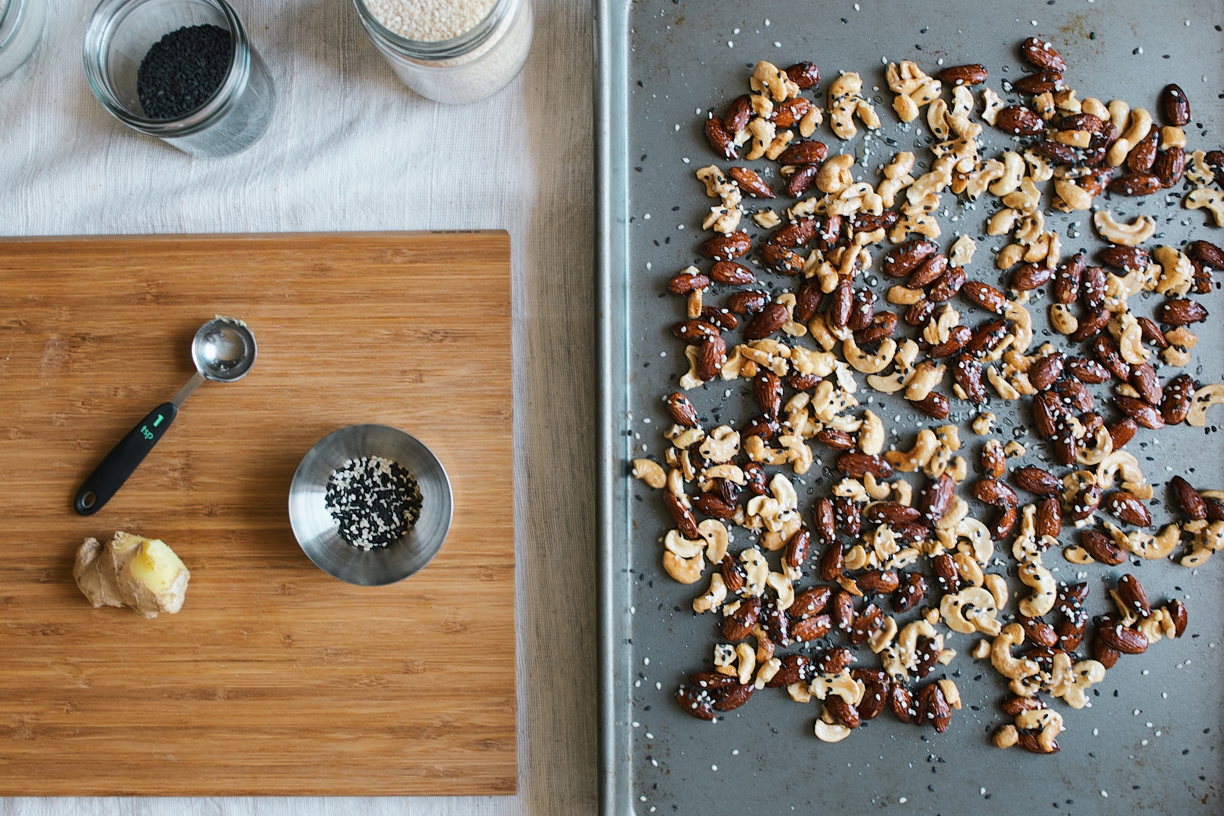 honey, ginger + sesame roasted nuts - dolly and oatmeal