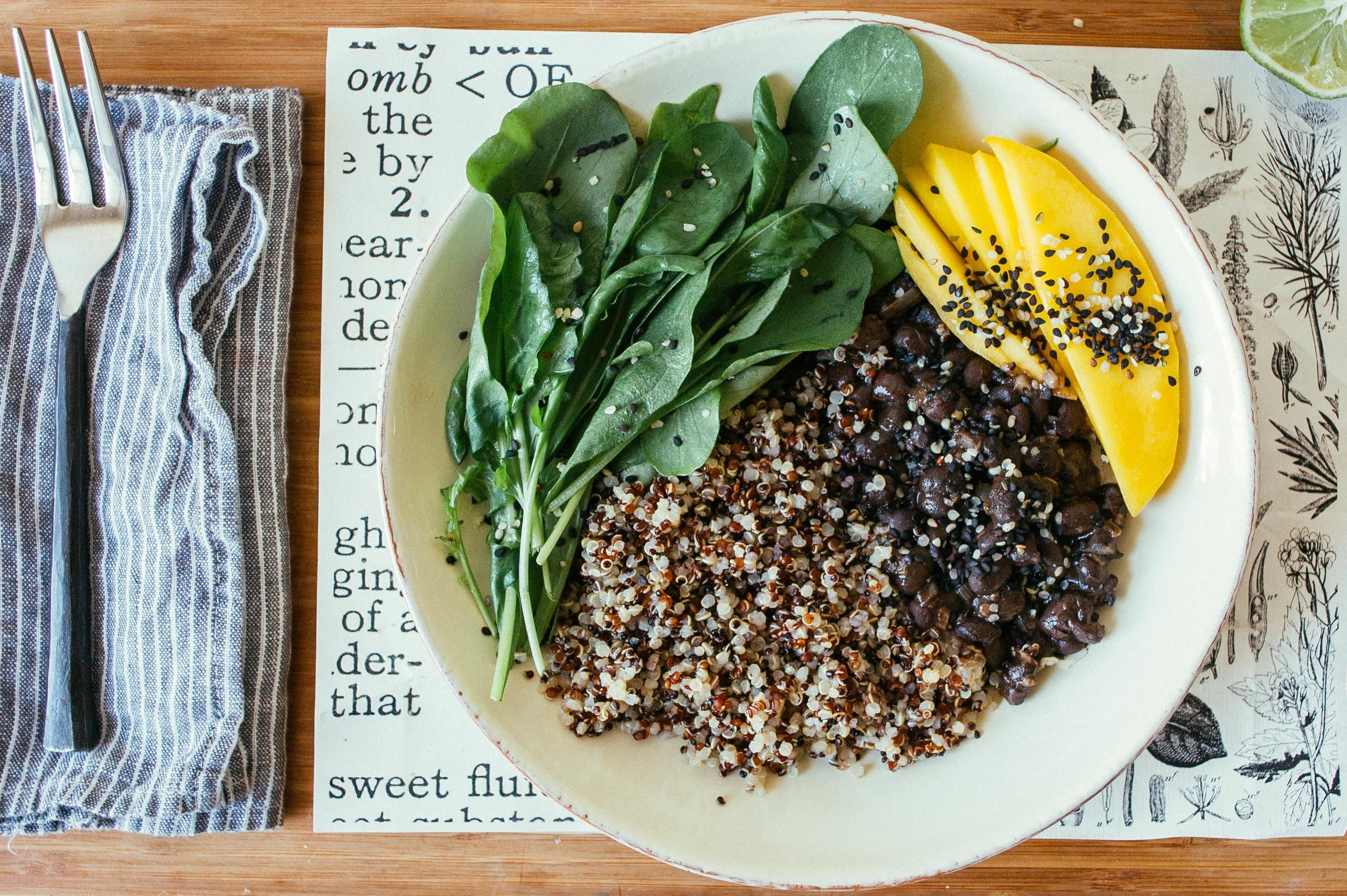 black bean + rocket greens salad