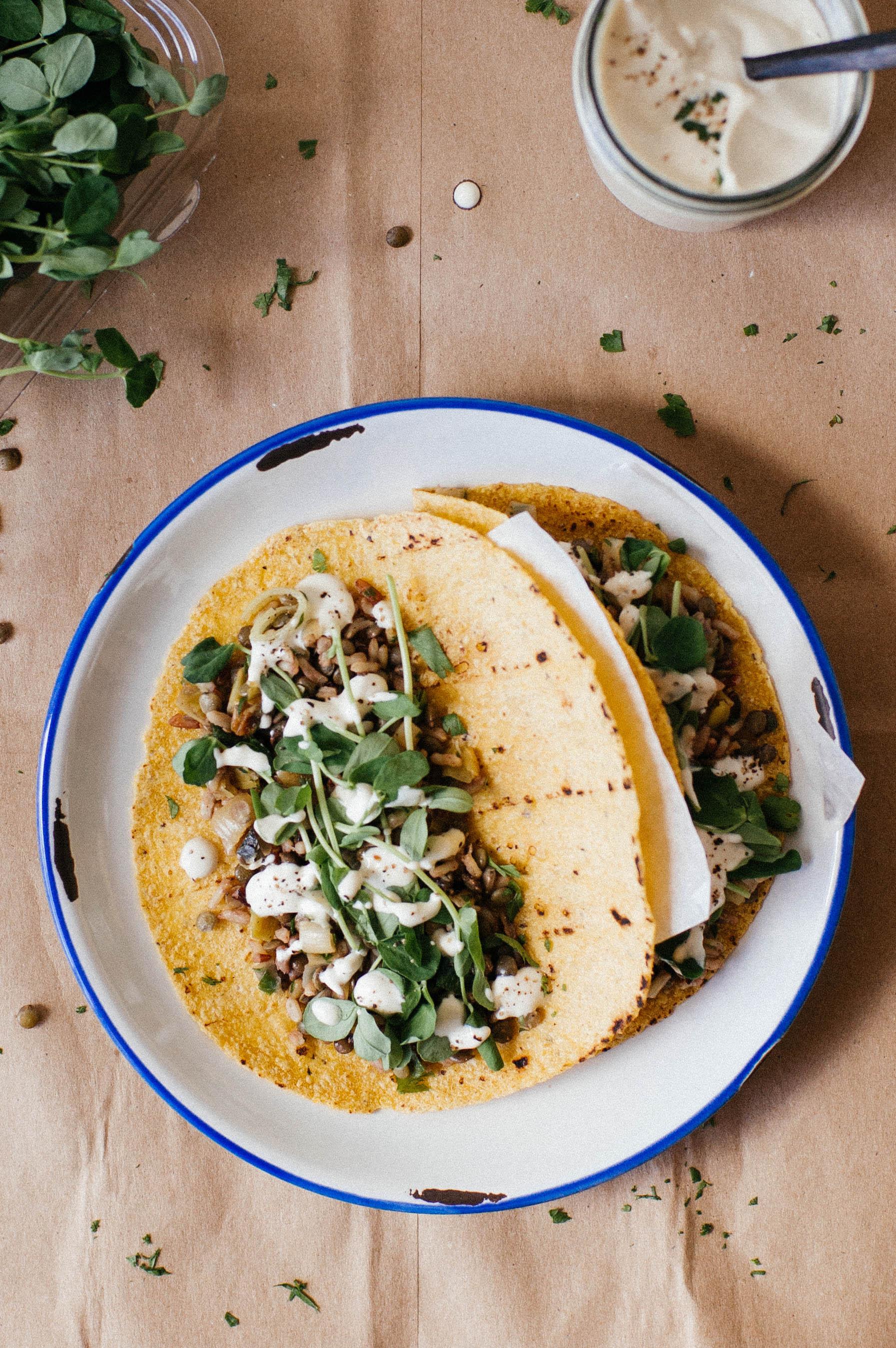 mujadra tacos w/ leeks