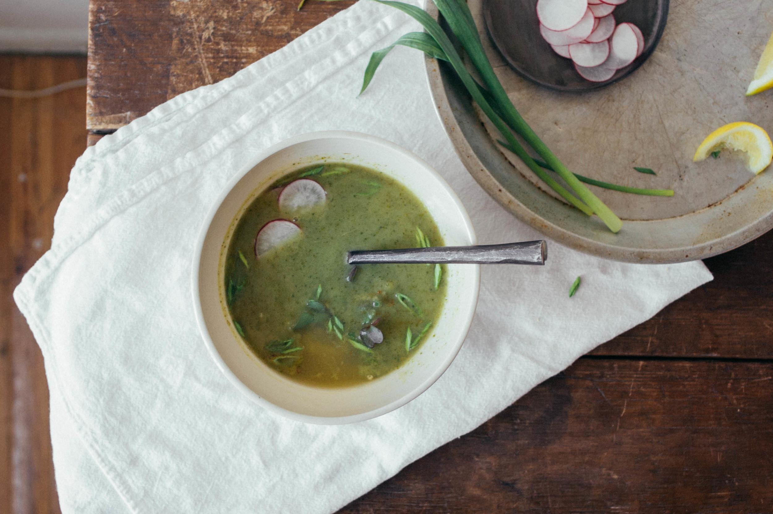Spring garlic + radish top soup