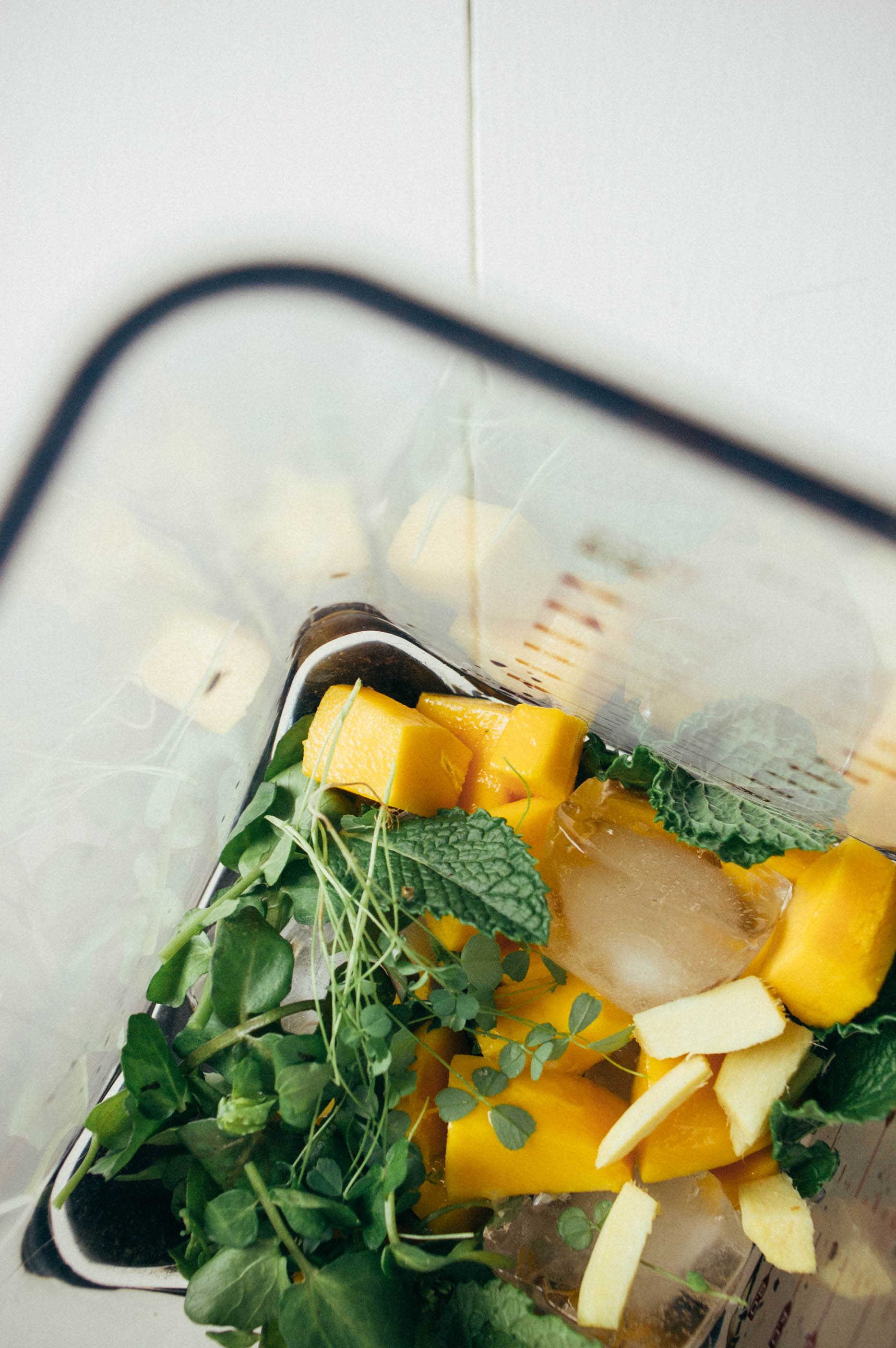 A microgreen, mint + mango juice