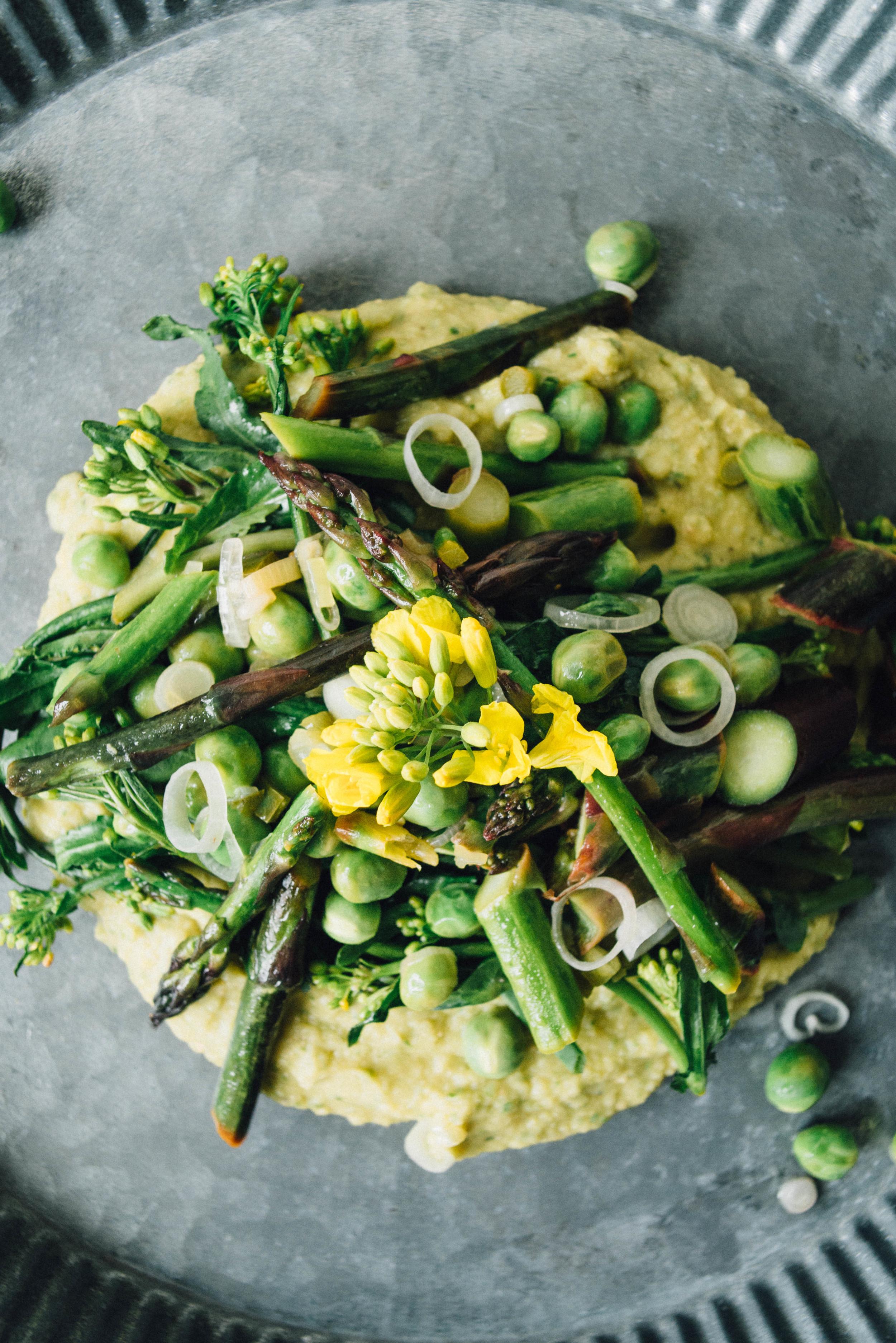 asparagus, pea + broccoli rabe sauté w/ a chickpea mash